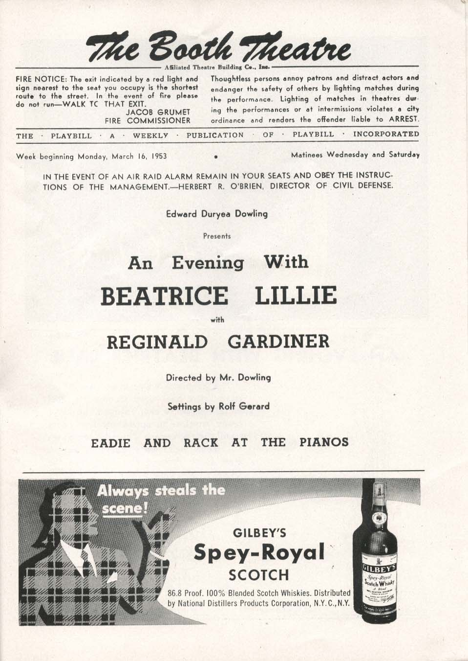 An Evening With Beatrice Lillie Playbill 3/16/53 Reginald Gardiner