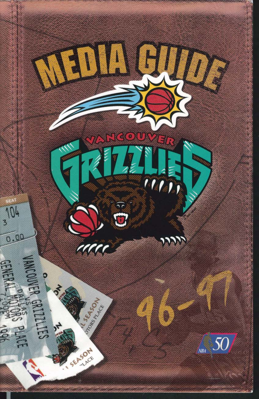 Image for Vancouver Grizzlies 1996 1997 NBA Media Guide