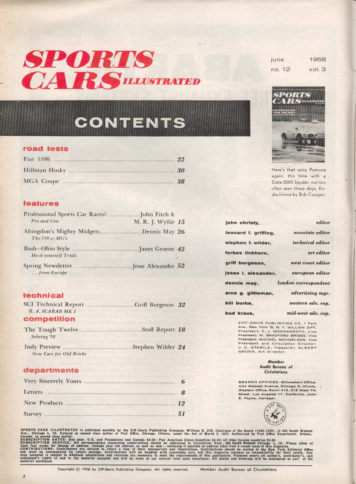 Image for SPORTS CARS ILLUSTRATED Fiat 1100 Hillman Husky MGA Coupe road tests 6 1958