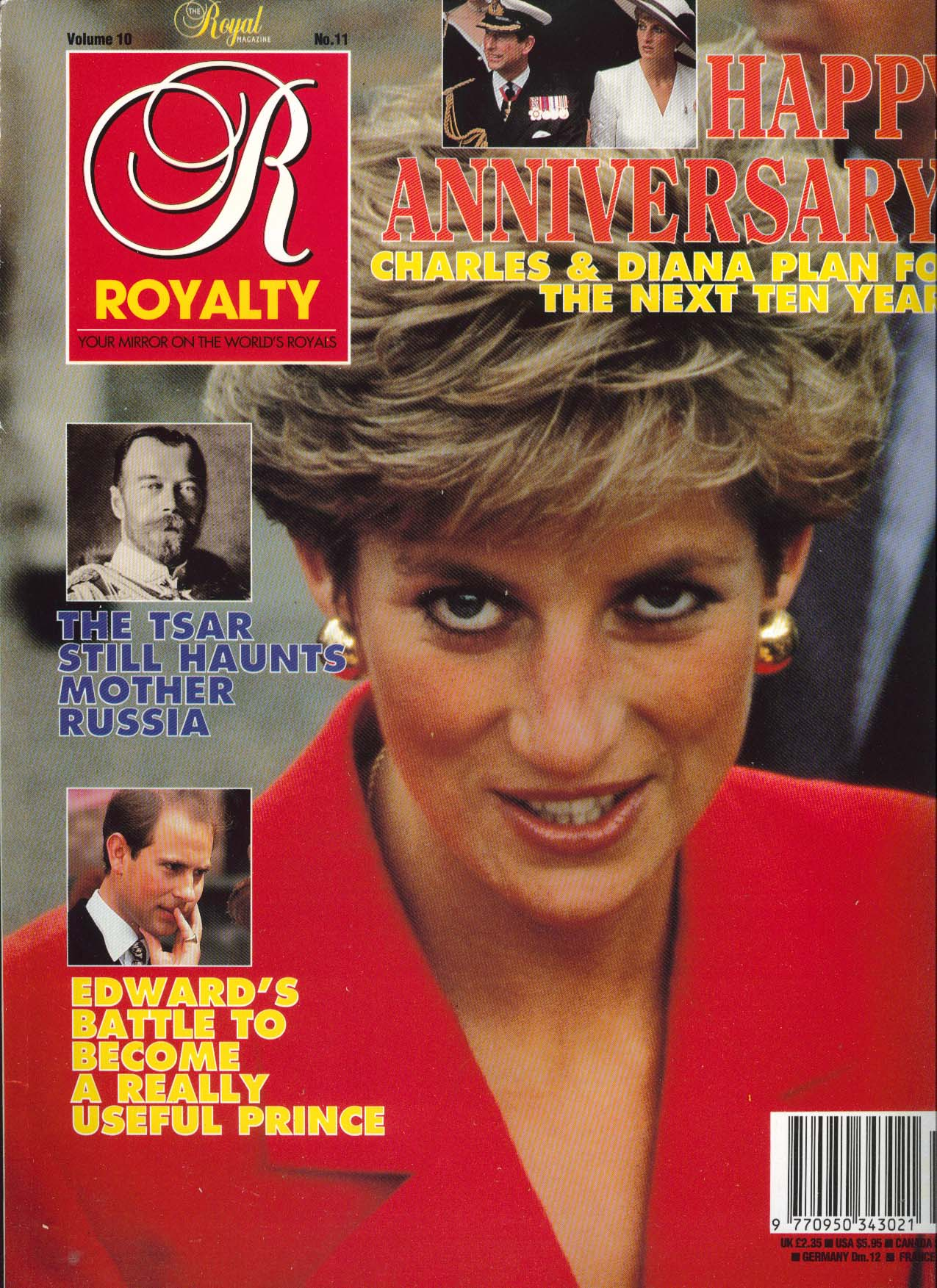 Image for ROYALTY MONTHLY Charles & Diana 10th Anniversary Prince Edward 8 1991