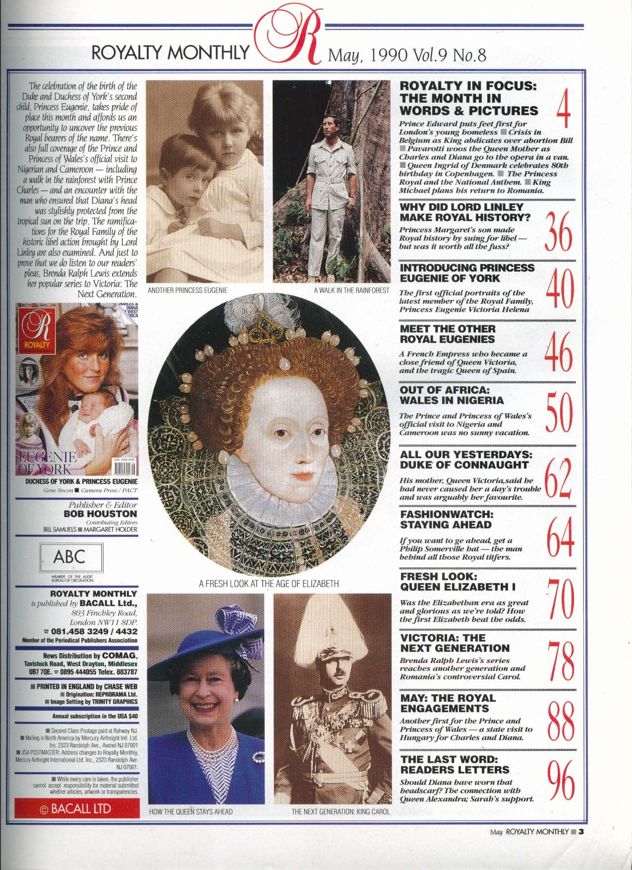 ROYALTY MONTHLY Sarah Eugenie of York Charles & Diana in West Africa 5 1990