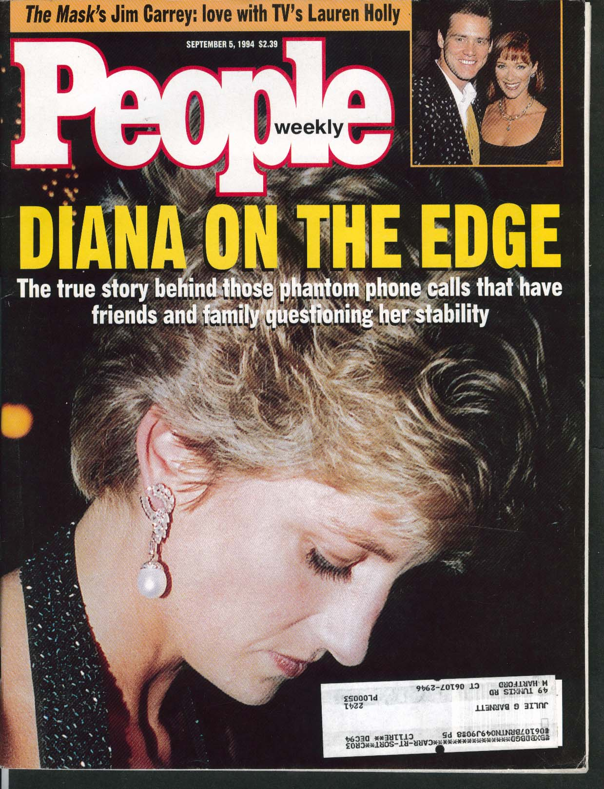 Image for PEOPLE Lady Diana Jim Carrey Lauren Holly Barry Switzer Jack Nicholson 9/5 1994