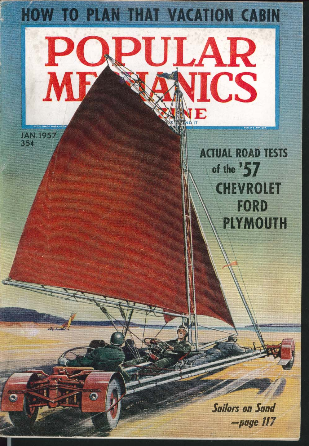 Image for POPULAR MECHANICS Chevrolet Ford Plymouth road test Lachlan Macleay model 1 1957