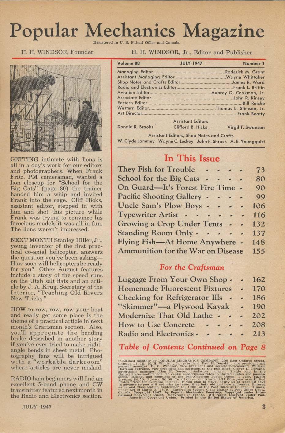 Image for POPULAR MECHANICS Streptomycin Forest Fires New Farm Equipment 7 1947