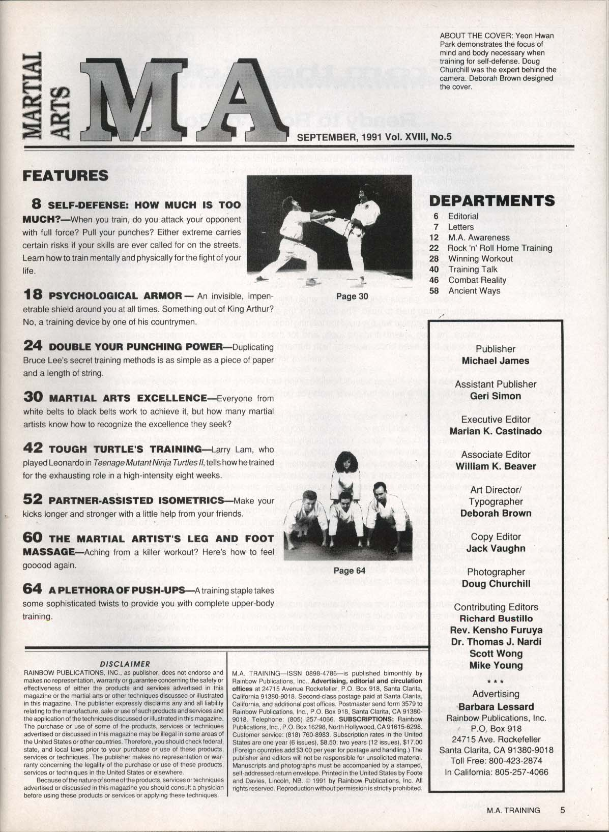 Image for MARTIAL ARTS MA TRAINING Bruce Lee Mike Young Larry Lam Ninja Turtles 9 1991