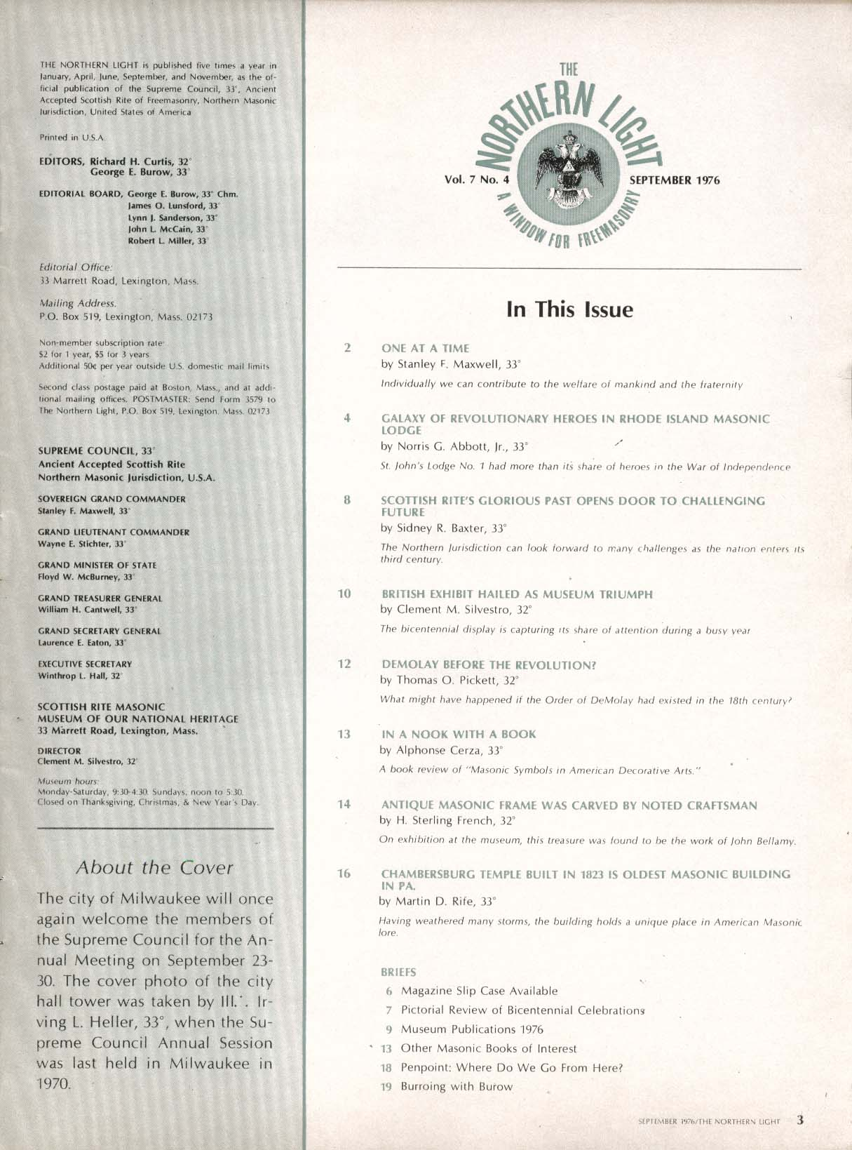 Image for NORTHERN LIGHT Vol 7 #4 Revolutionary Heroes Rhode Island Masonic Lodge 9 1976