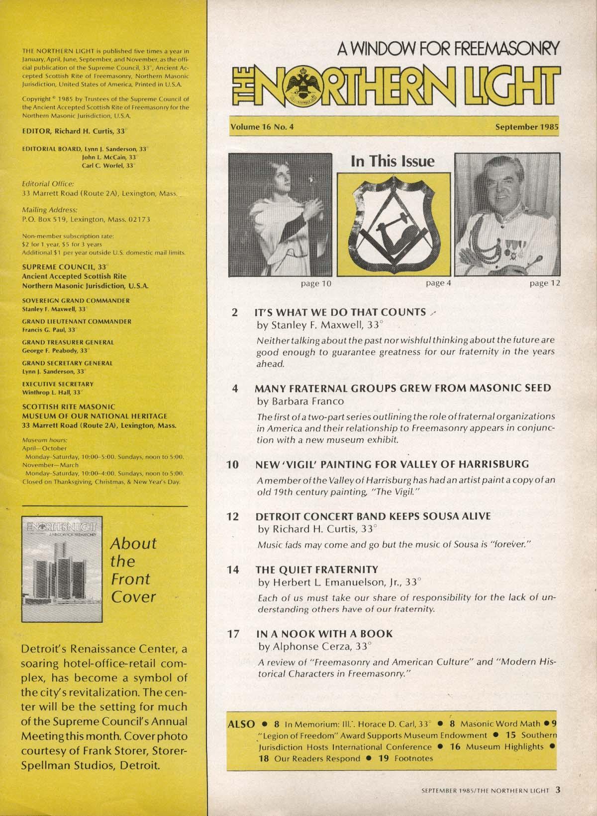 Image for NORTHERN LIGHT Vol 16 #4 Sousa Vigil Harrisburg Freemasonry 9 1985