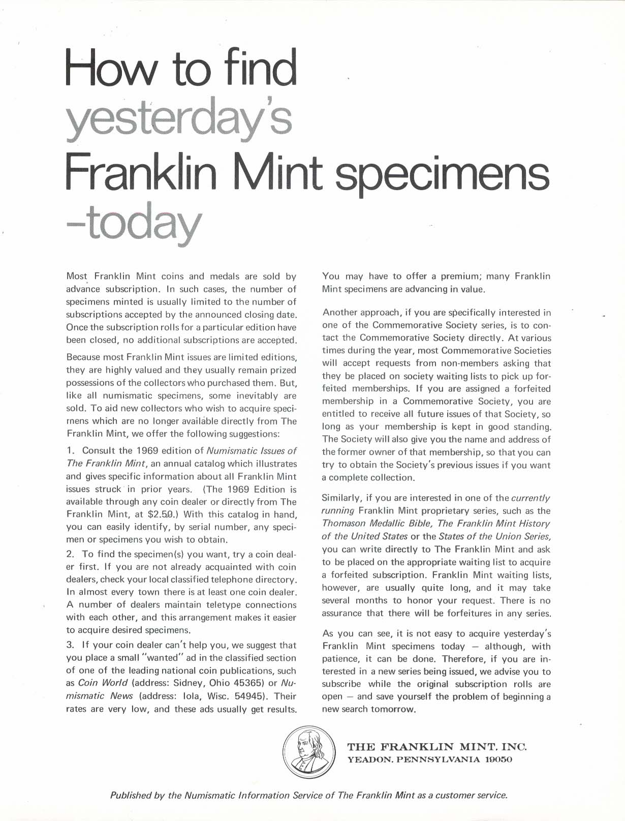 Image for Numismatic Issues of Franklin Mint 1969 Edition