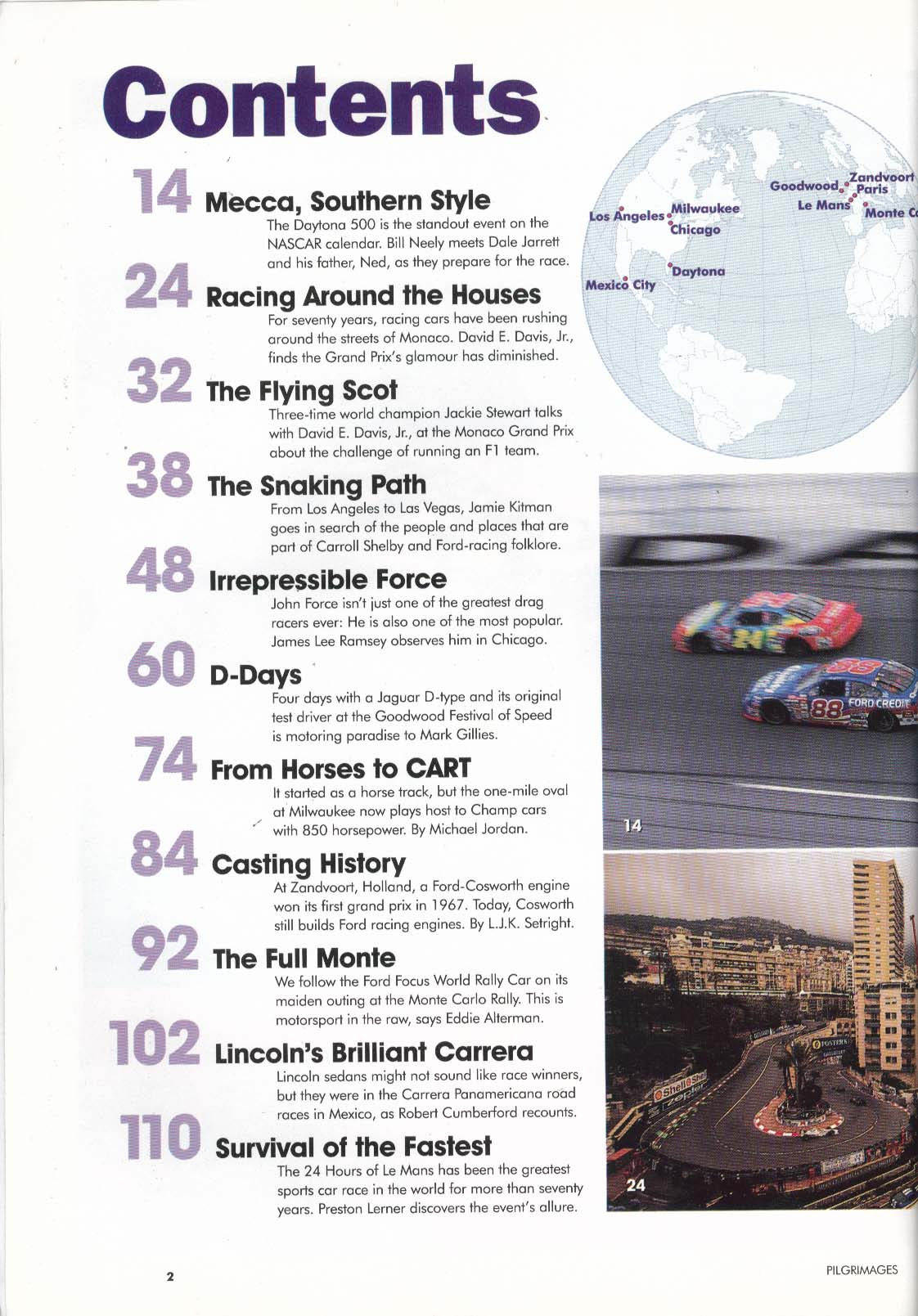 Image for FORD PILGRIMAGES Magazine Supplement Daytona Le Mans Gran Prix Monte Carlo 1999