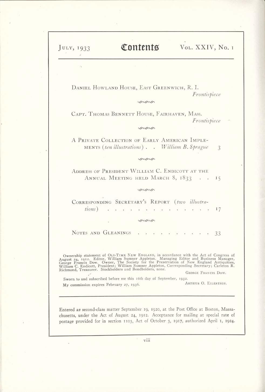 Image for OLD-TIME NEW ENGLAND Daniel Howland House Thomas Bennett William Endicott 7 1933