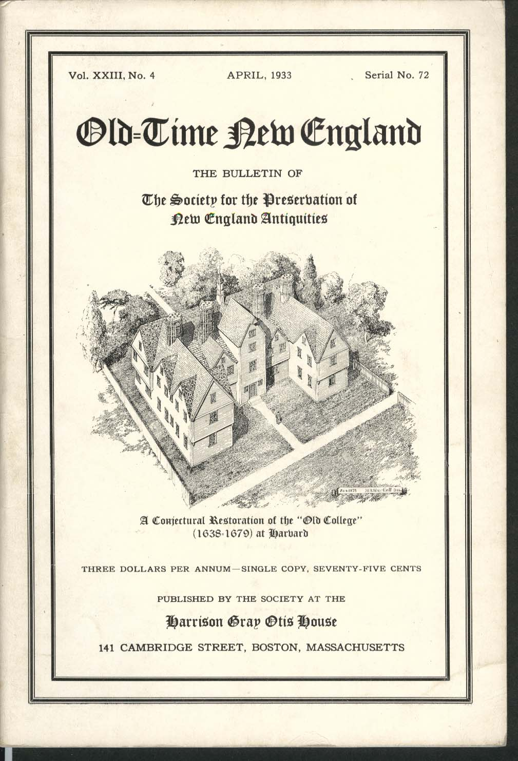 Image for OLD-TIME NEW ENGLAND Old College Harvard Aptucxet Trading Post 4 1933