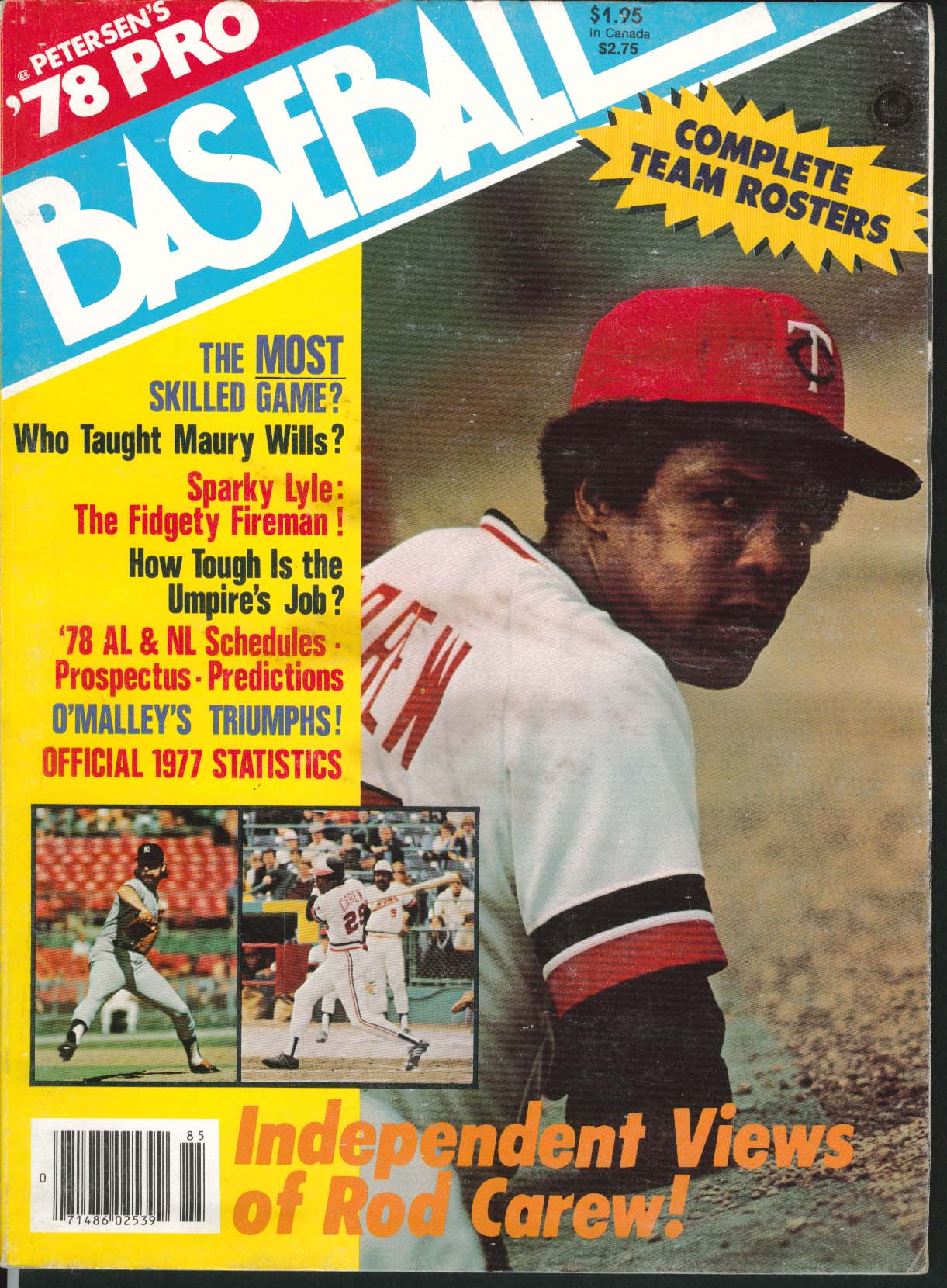 Image for PETERSEN'S '78 PRO BASEBALL Rod Carew Maury Wills Sparky Lyle 1977 Statistics ++