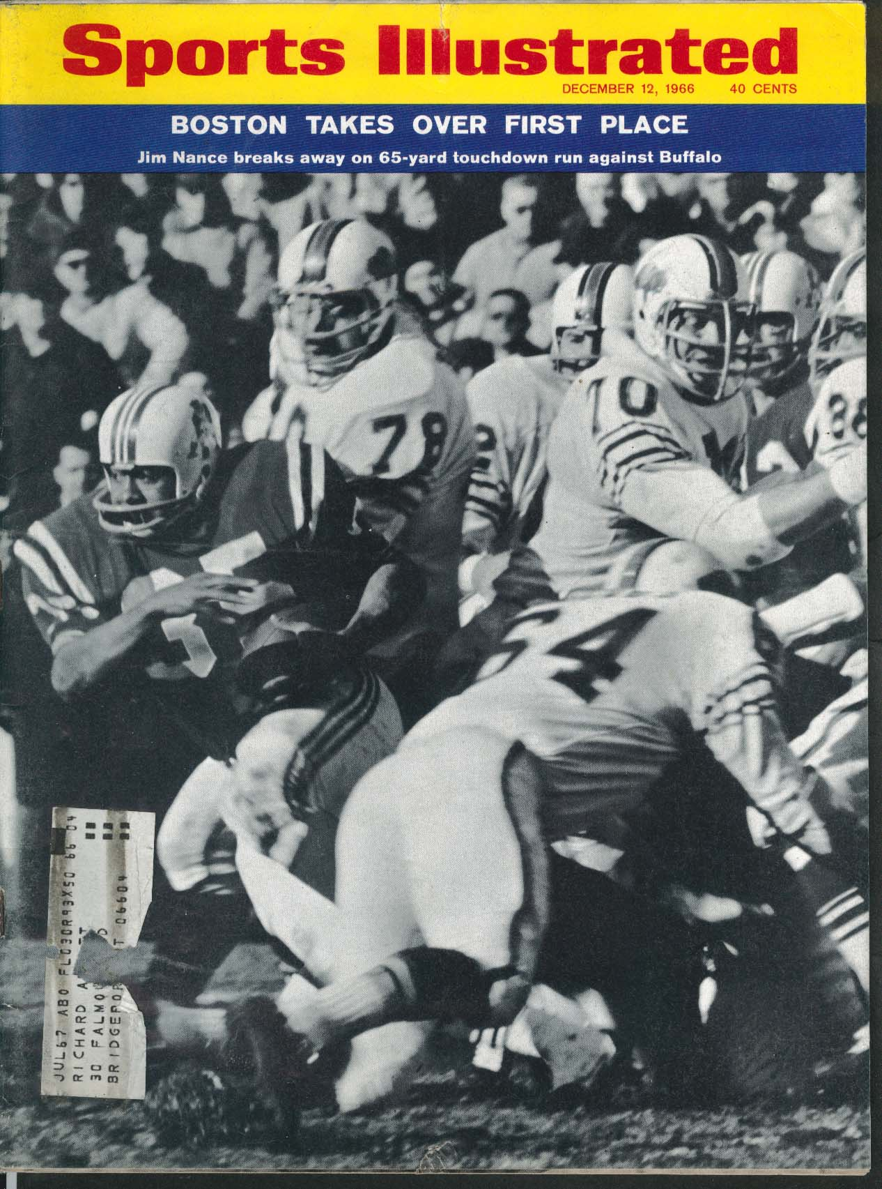 Image for SPORTS ILLUSTRATED Jim Nance Mike Holovak John Zumstein Lou Nova ++ 12/12 1966