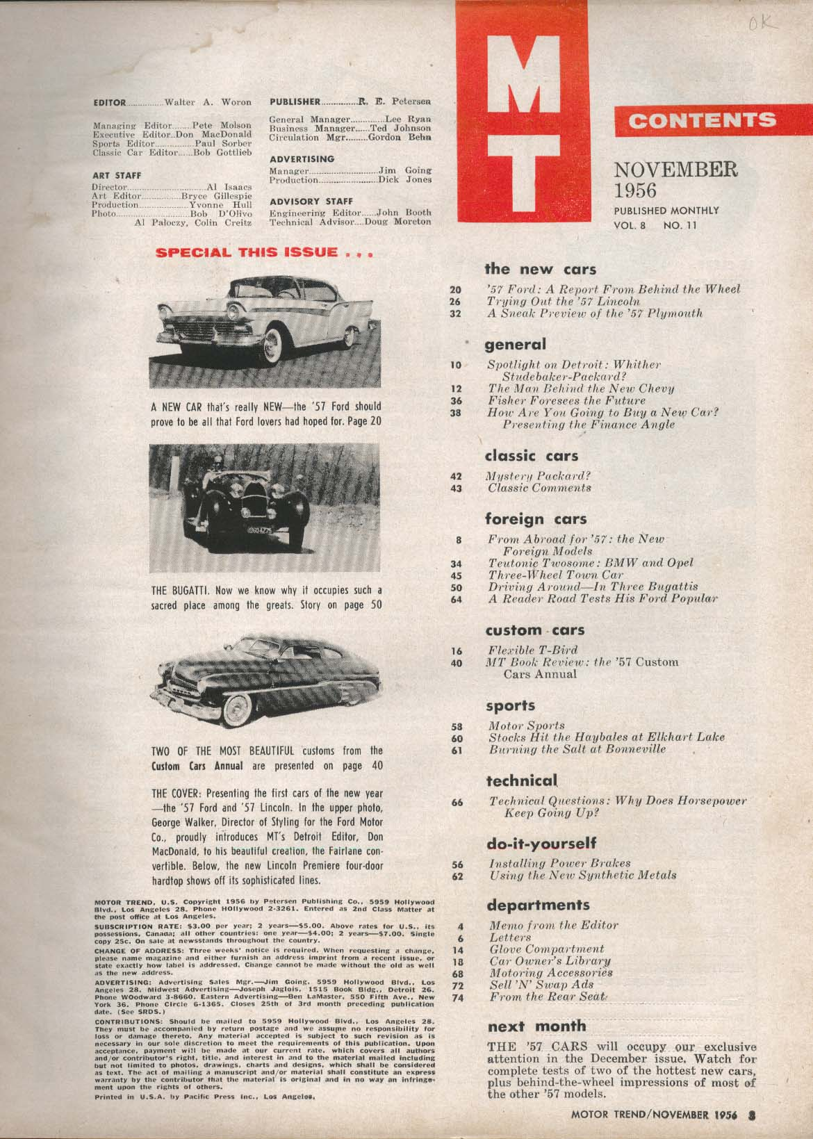 MOTOR TREND Ford Lincoln for 1957 Performance Tests Plymout Features ++ 11 1956