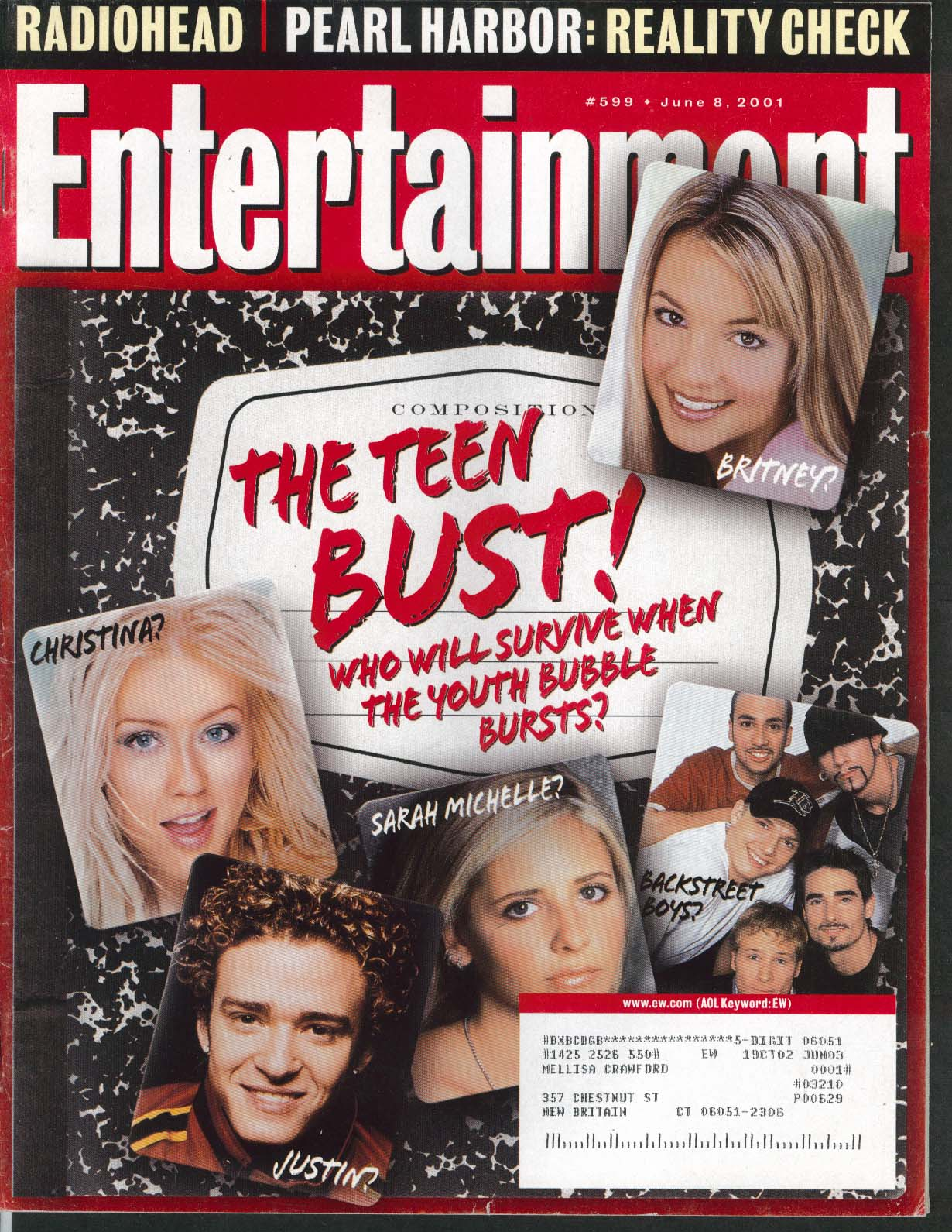 ENTERTAINMENT WEEKLY #599 Britney Spears Christina Aguilera Timberlake 6/8 2001