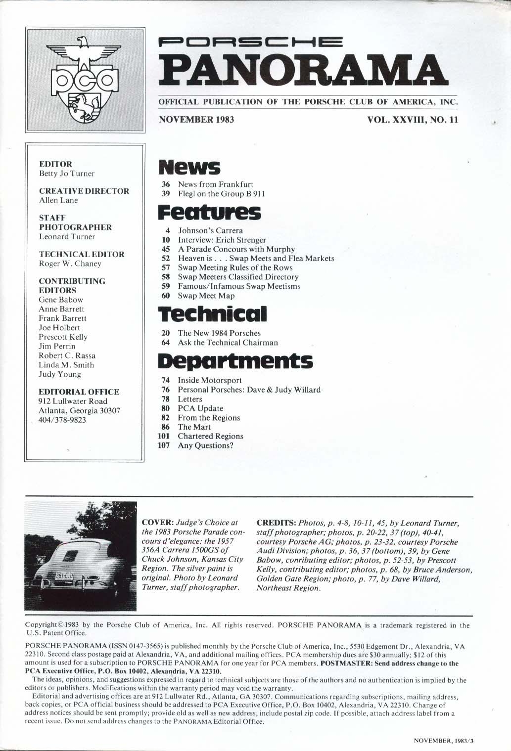 PORSCHE PANORAMA Flegl Group B 911 Johnson Carrera Erich Strenger 11 1983