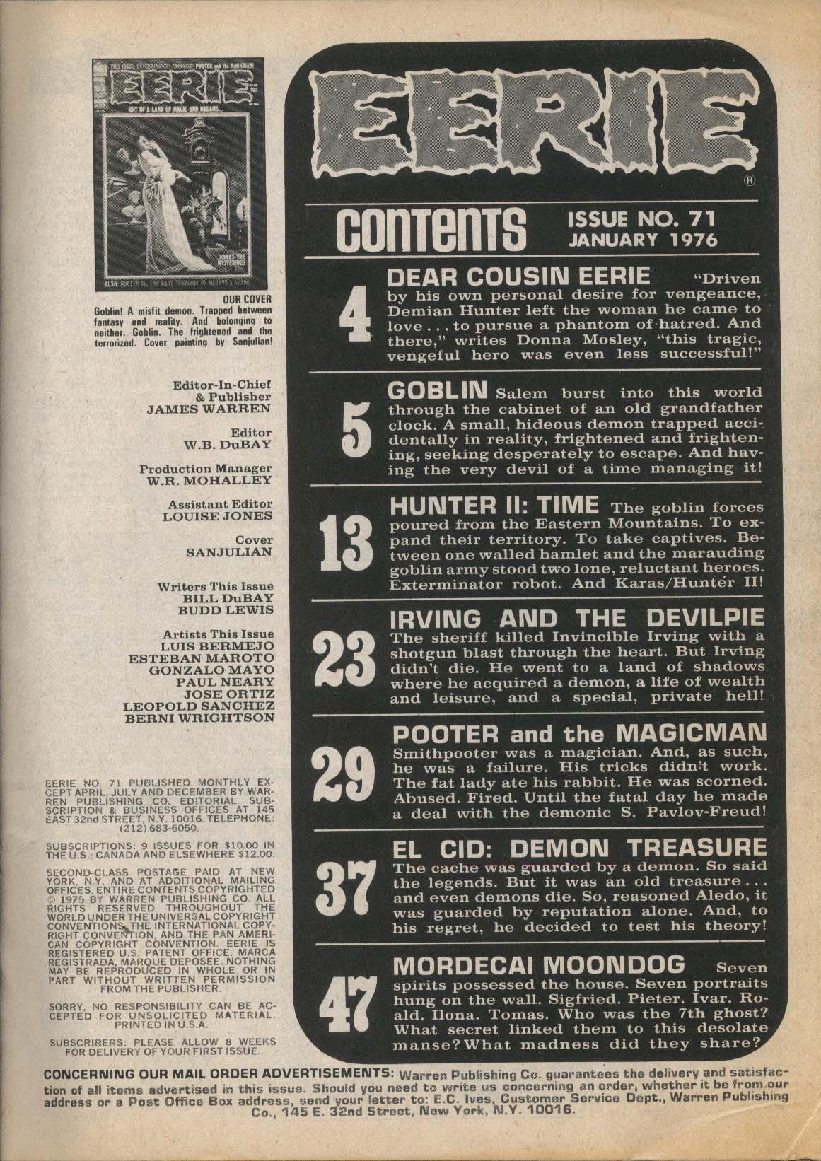 EERIE #71 Warren comic magazine Gonzalo Mayo Luis Bermejo Jose Ortiz 1 1976