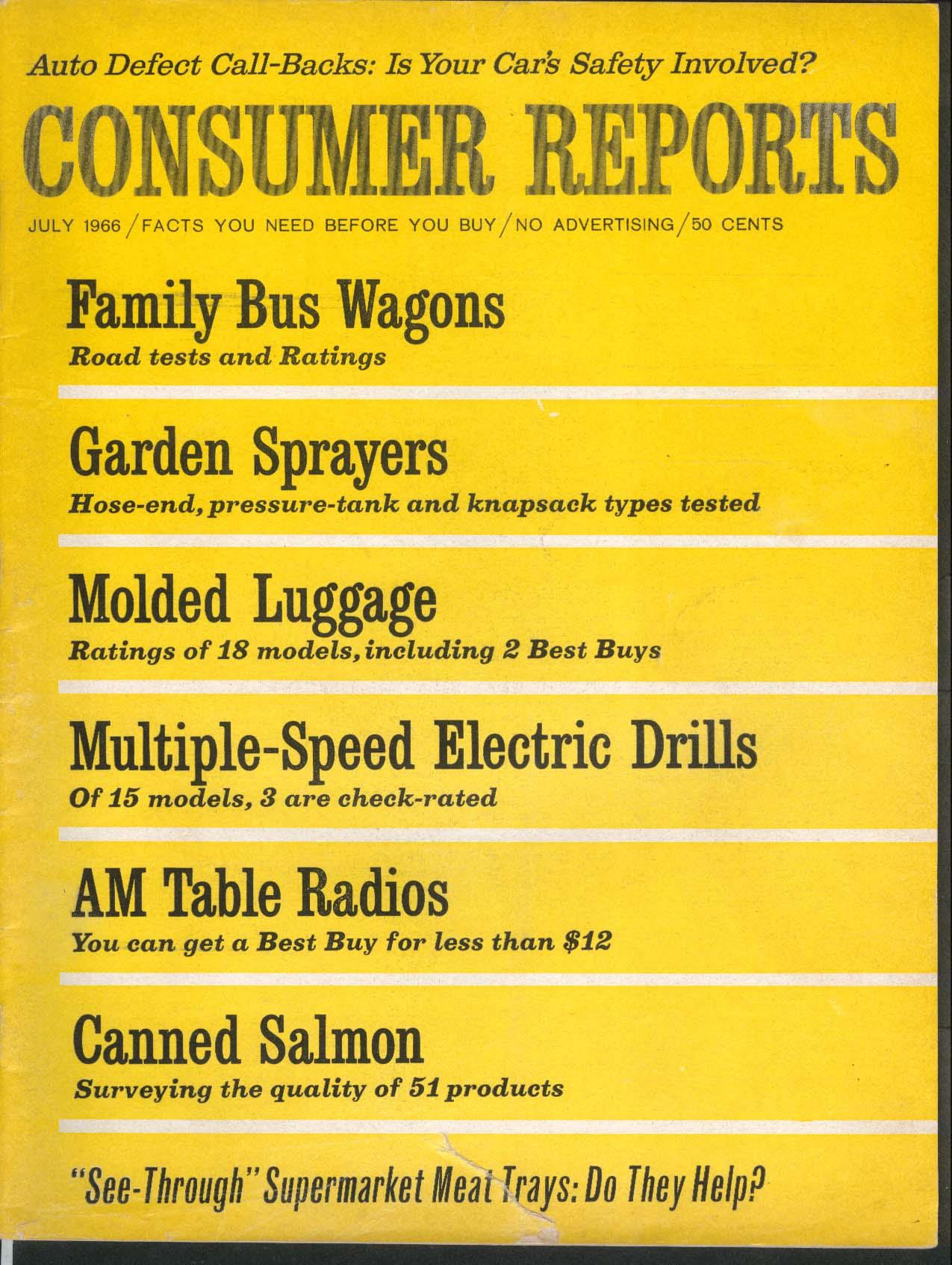 CONSUMER REPORTS Chevrolet Sportvan Dodge Sportsman Falcon Club Wagon VW 7 1966