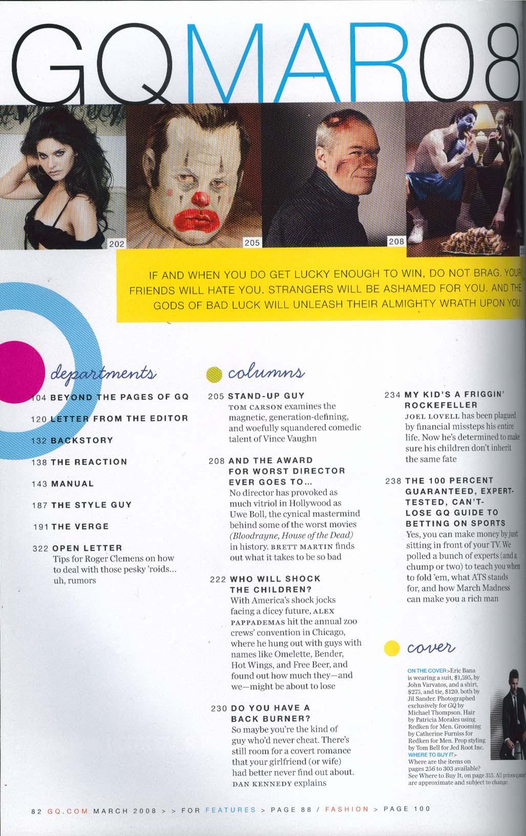 GQ Eric Bana Hillary Clinton Mitt Romney Vince Vaughn Uwe Boll 3 2008