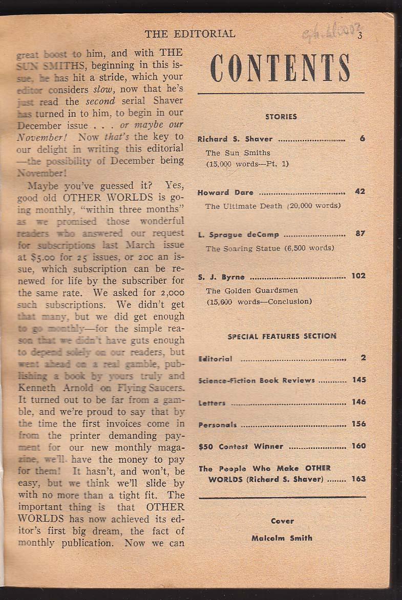 OTHER WORLDS Richard Shaver Howard Dare L Sprague de Camp Byrne 7 1952