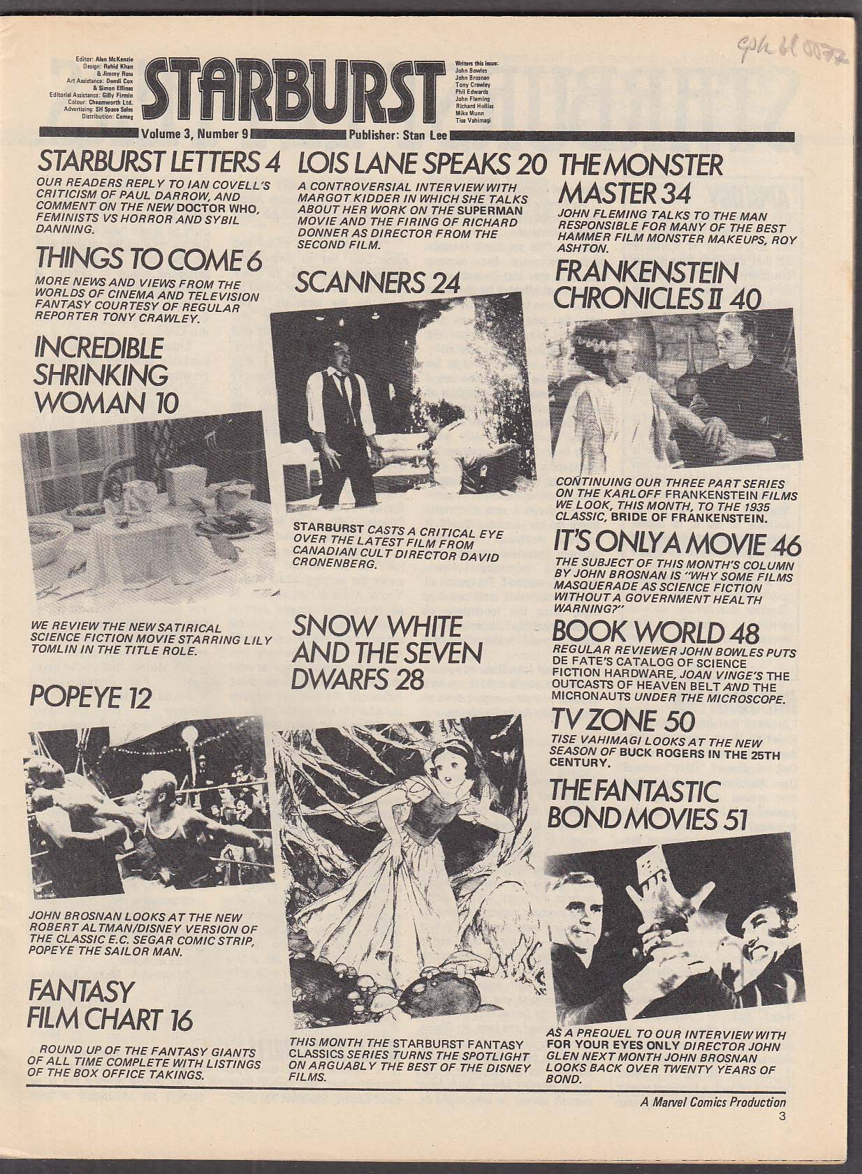 STARBURST #33 David Cronenberg Scanners Margot Kidder ++ 1981