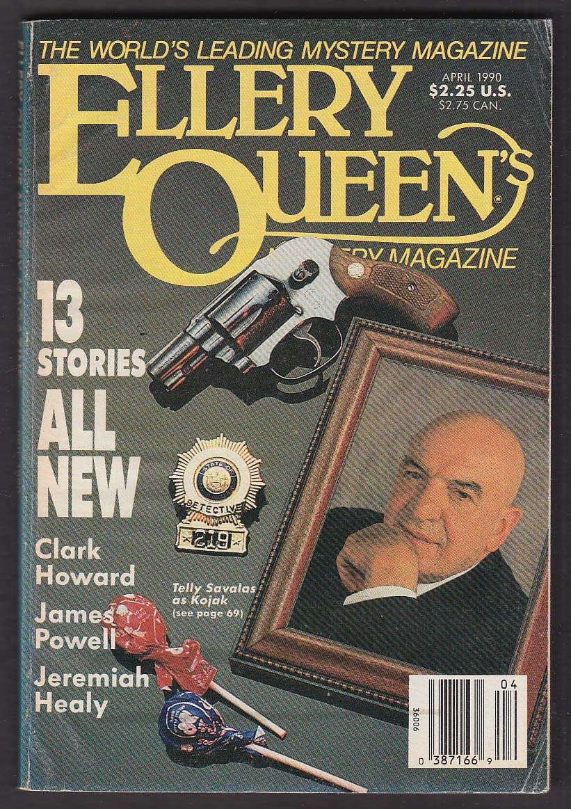 ELLERY QUEEN Mystery Magazine Telly Savalas Kojak cover Clark Howard ++ 4 1990