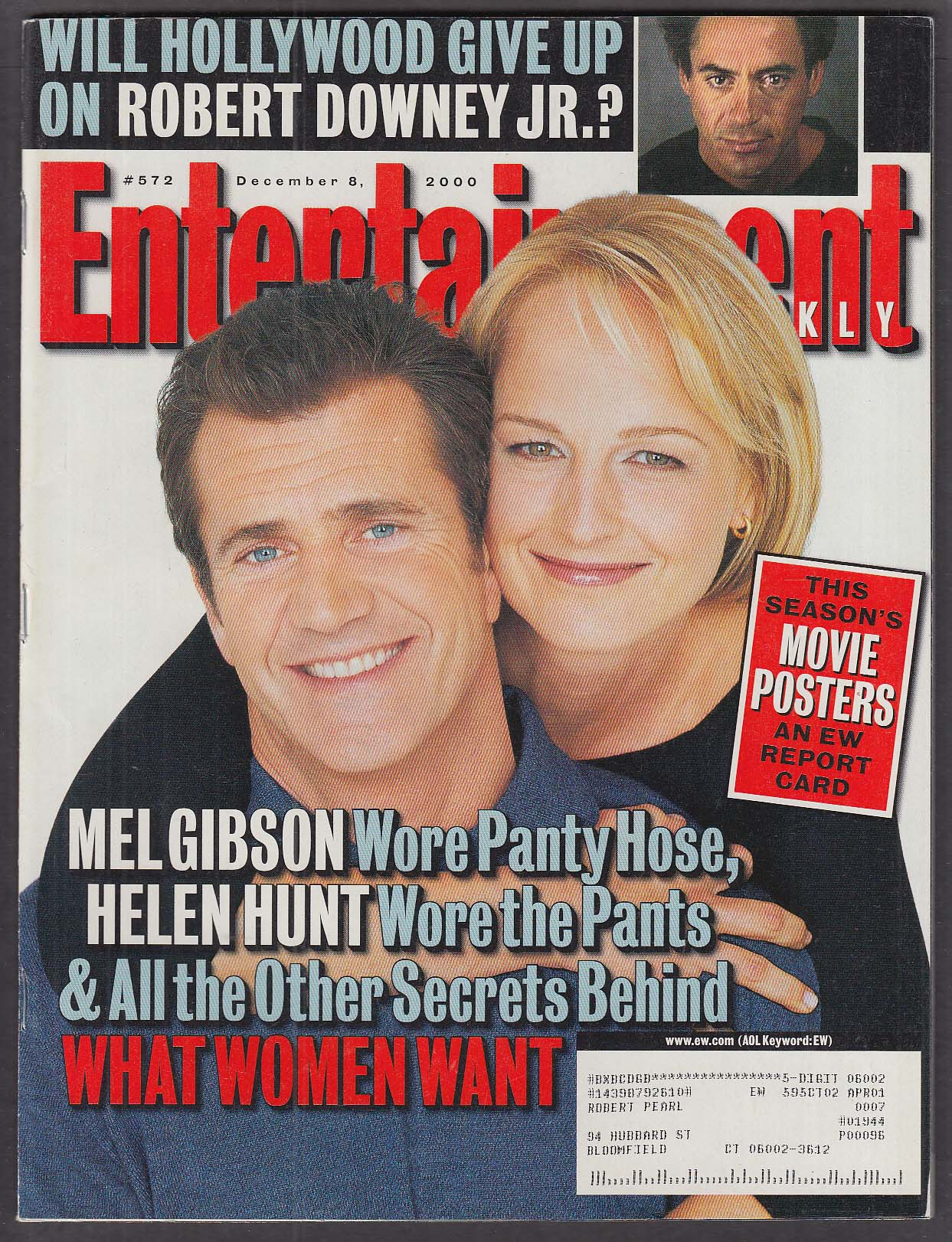 ENTERTAINMENT WEEKLY #572 Mel Gibson Helen Hunt What Women Want 12/8 2000