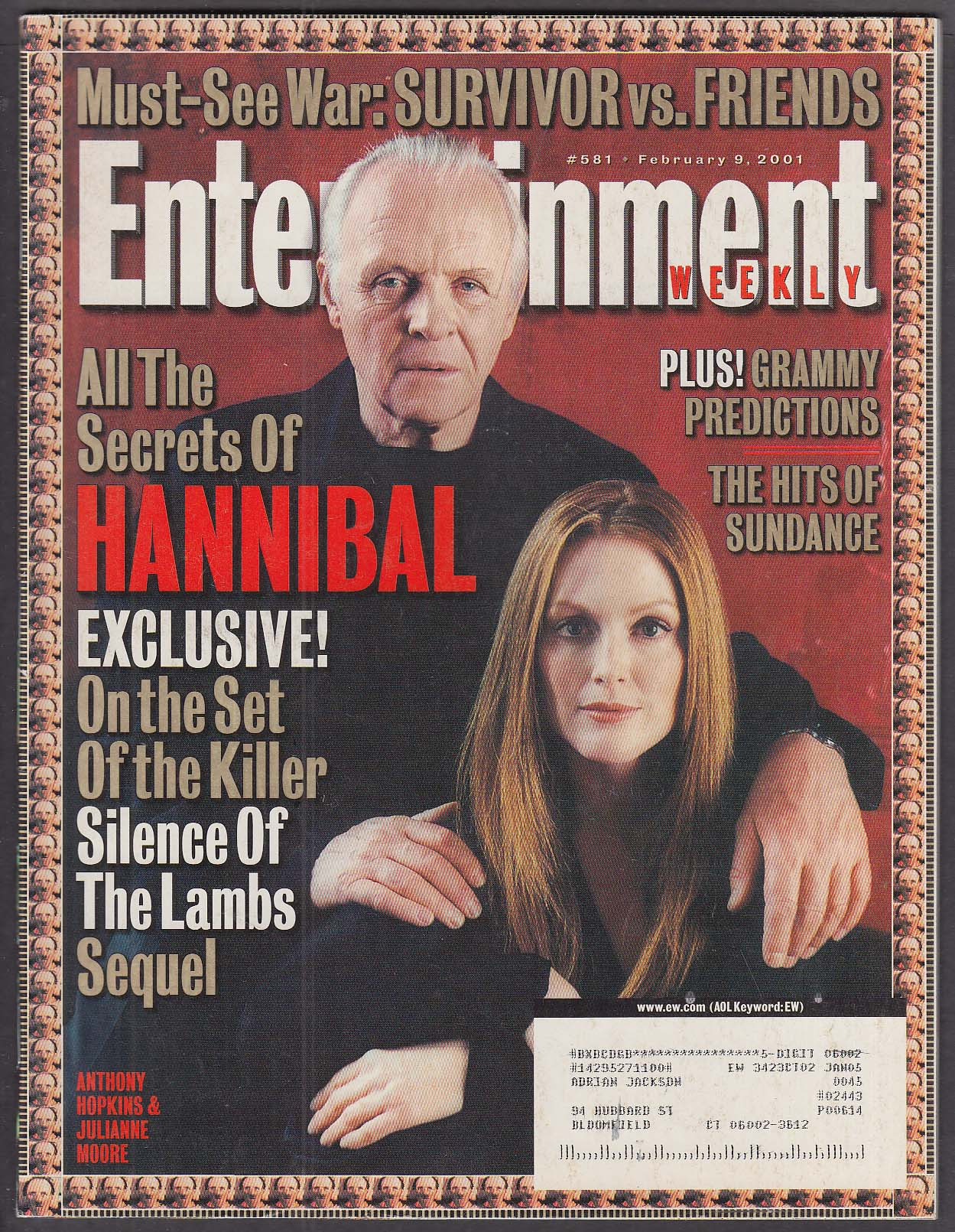 ENTERTAINMENT WEEKLY #581 Anthony Hopkins Julianne Moore Hannibal 2/9 2001