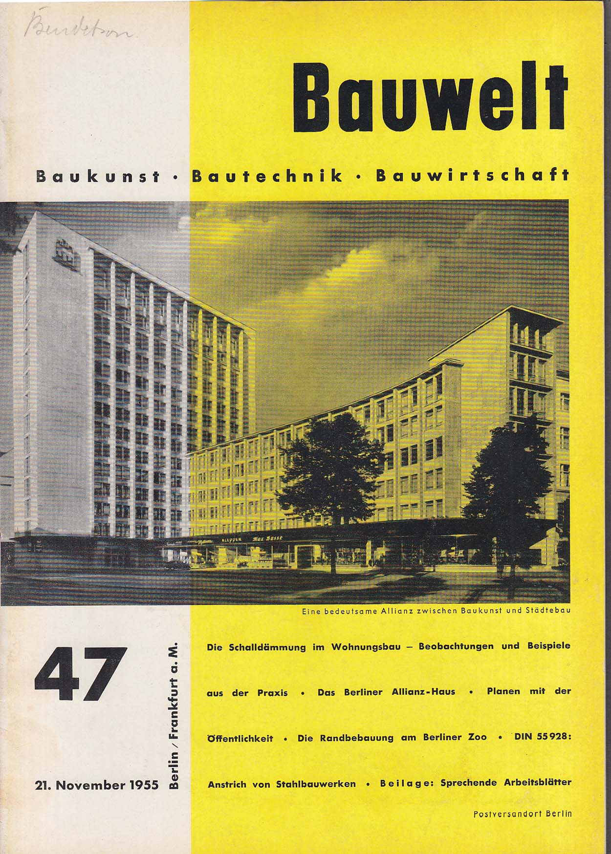 Bauwelt German architecture magazine 11/21/1955 47
