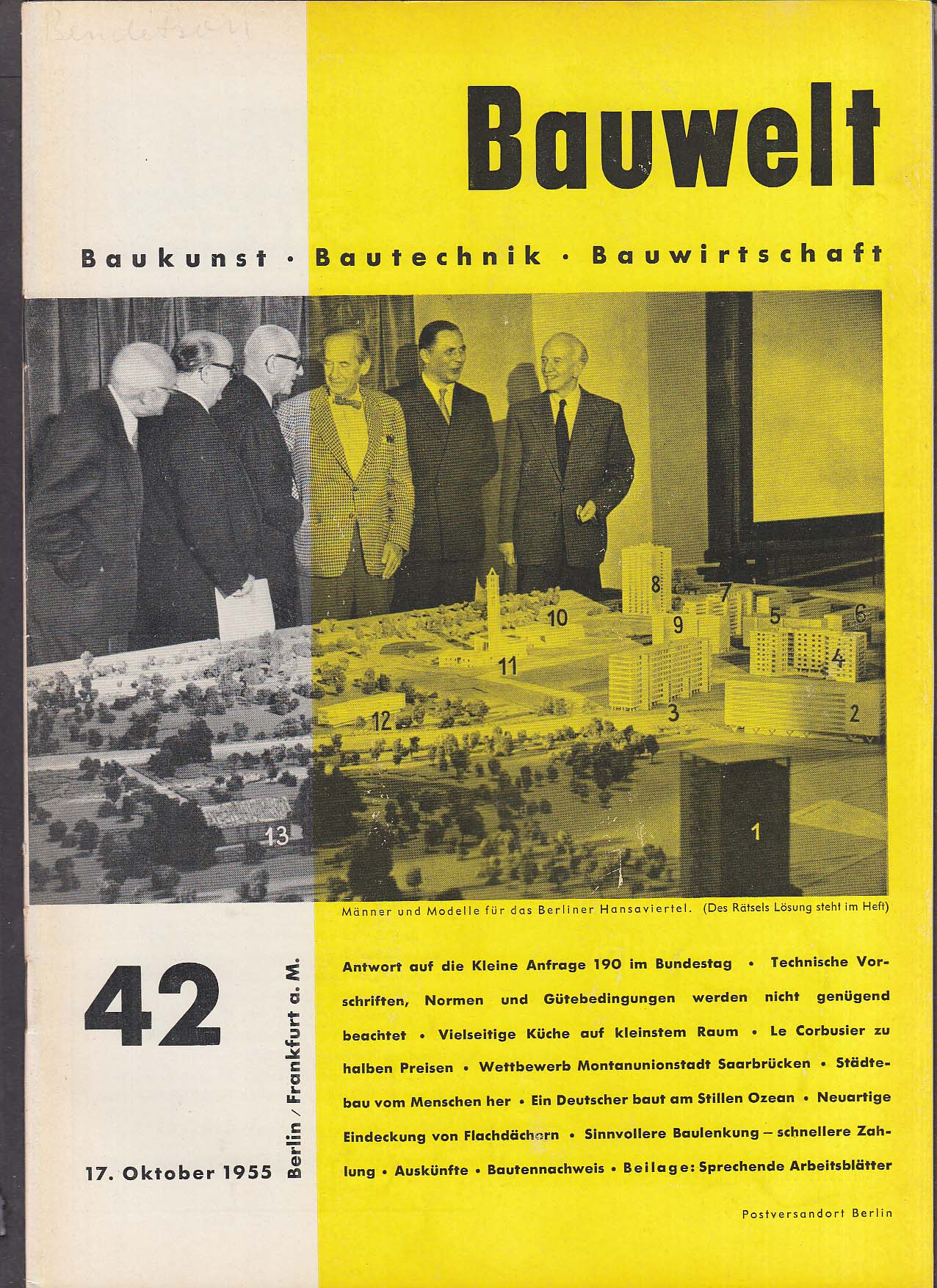Bauwelt German architecture magazine 10/17/1955 42