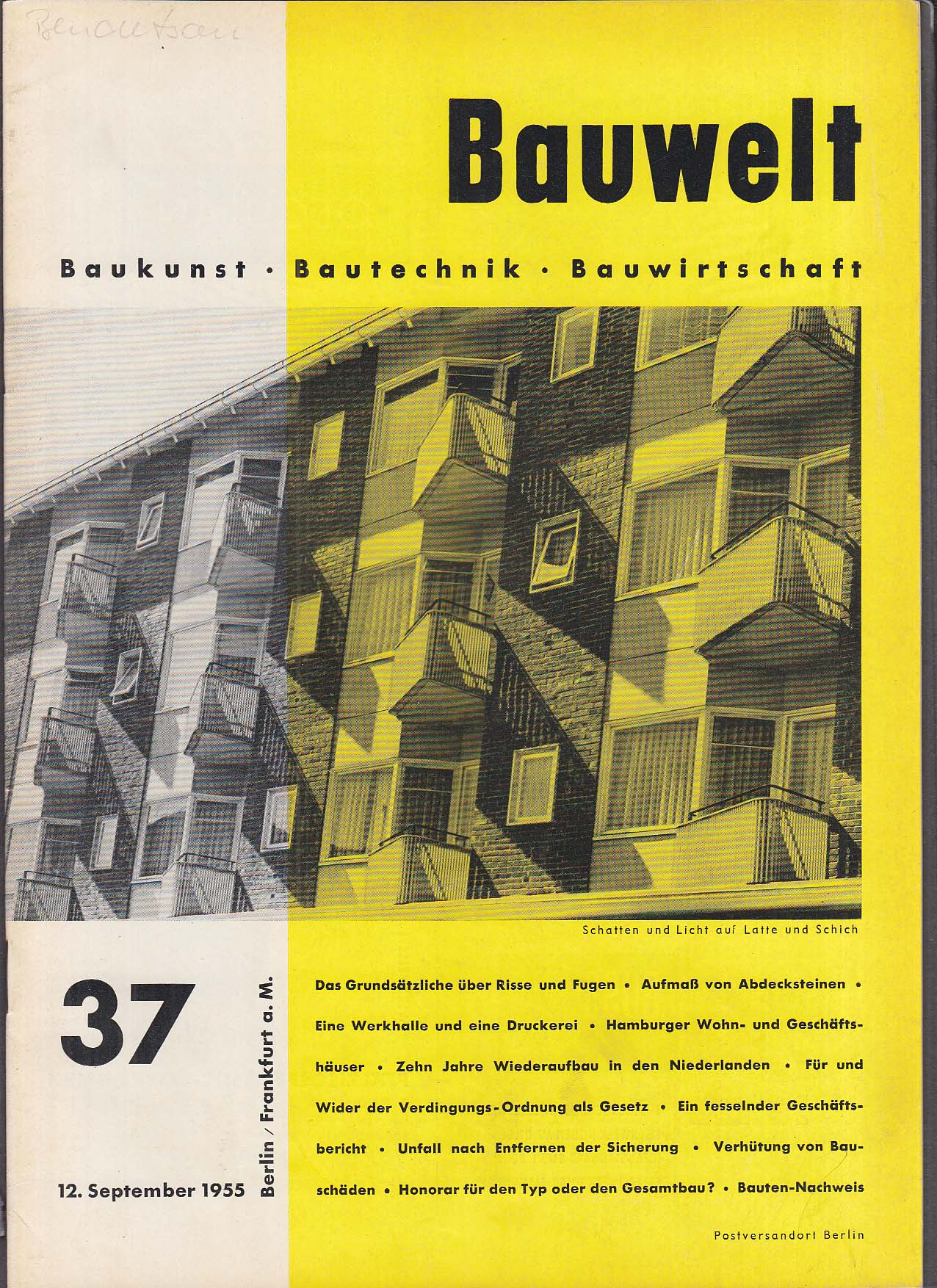 Bauwelt German architecture magazine 9/12/1955 37