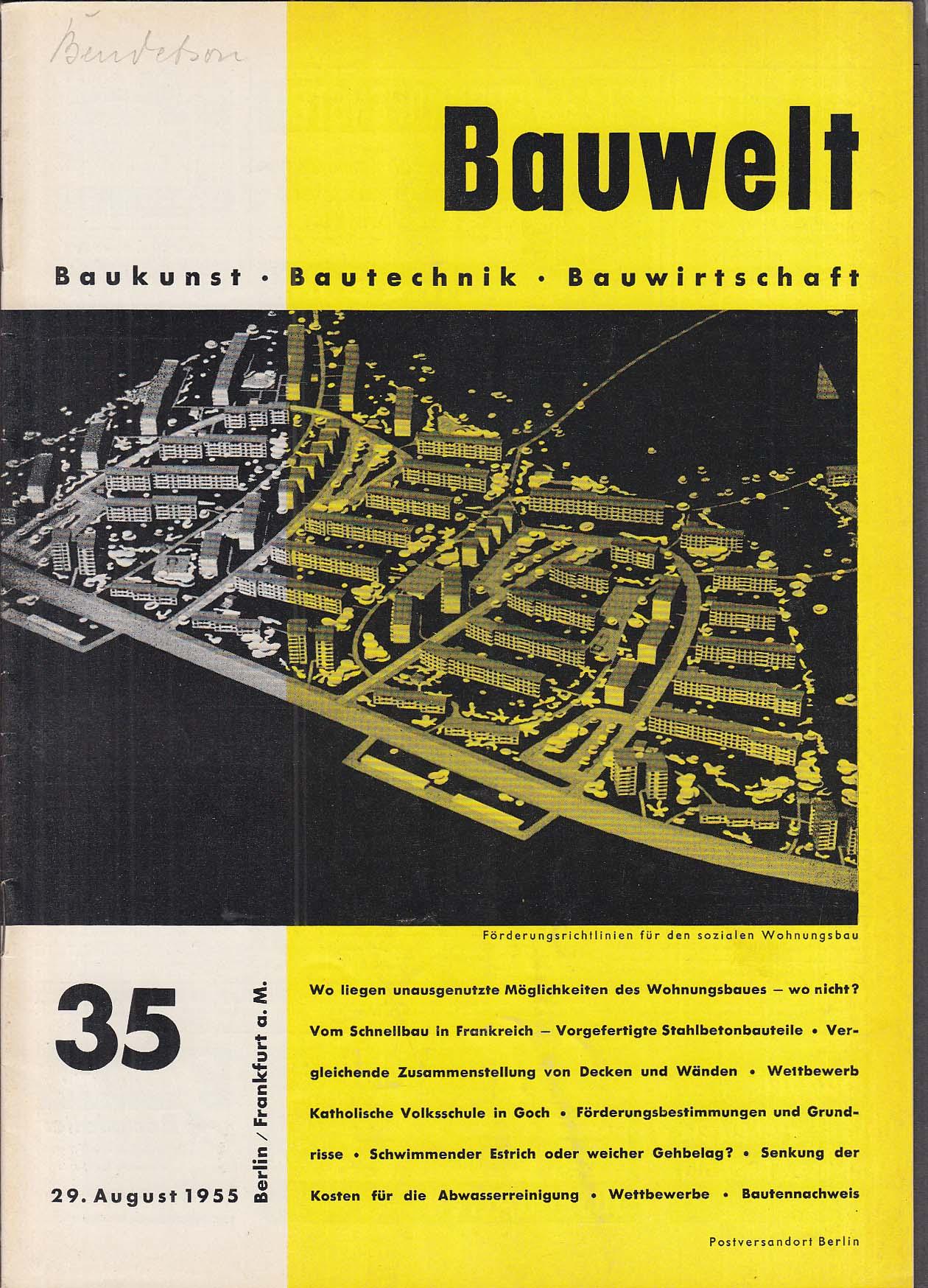 Bauwelt German architecture magazine 8/29/1955