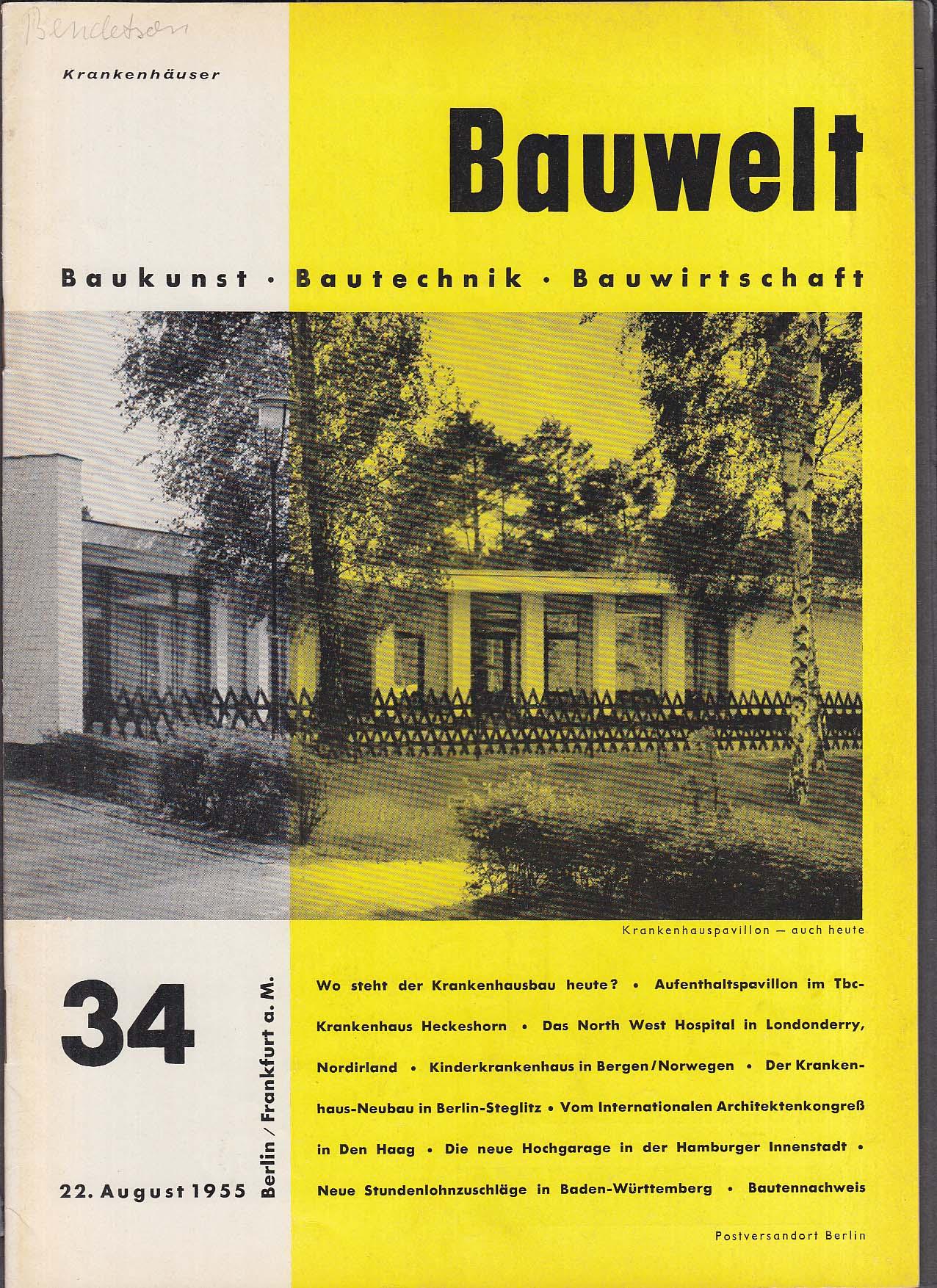 Bauwelt German architecture magazine 8/22/1955 34