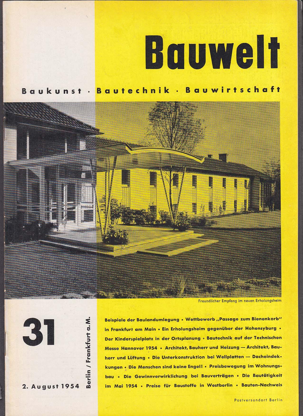 Bauwelt German architecture magazine 8/2/1954 31