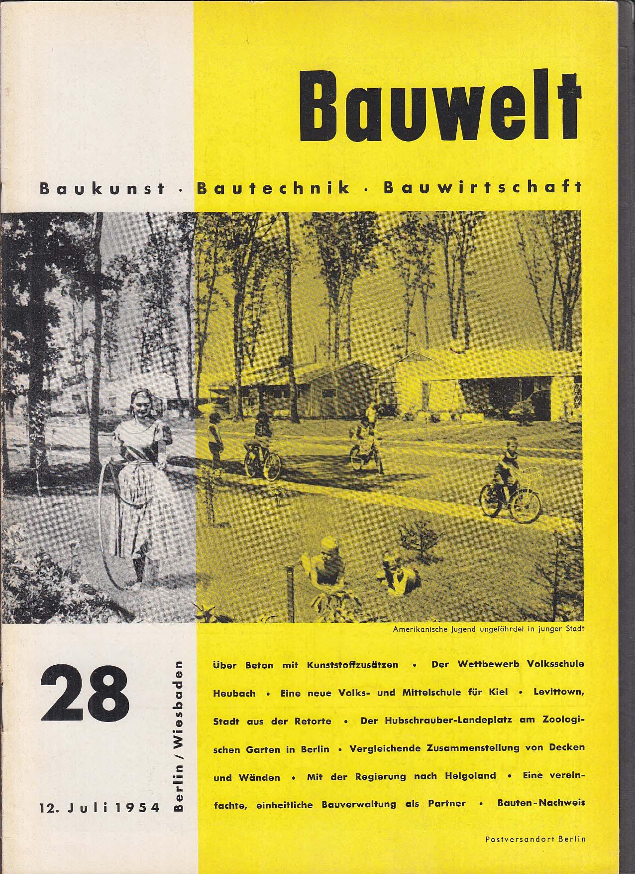 Bauwelt German architecture magazine 7/12/1954 28