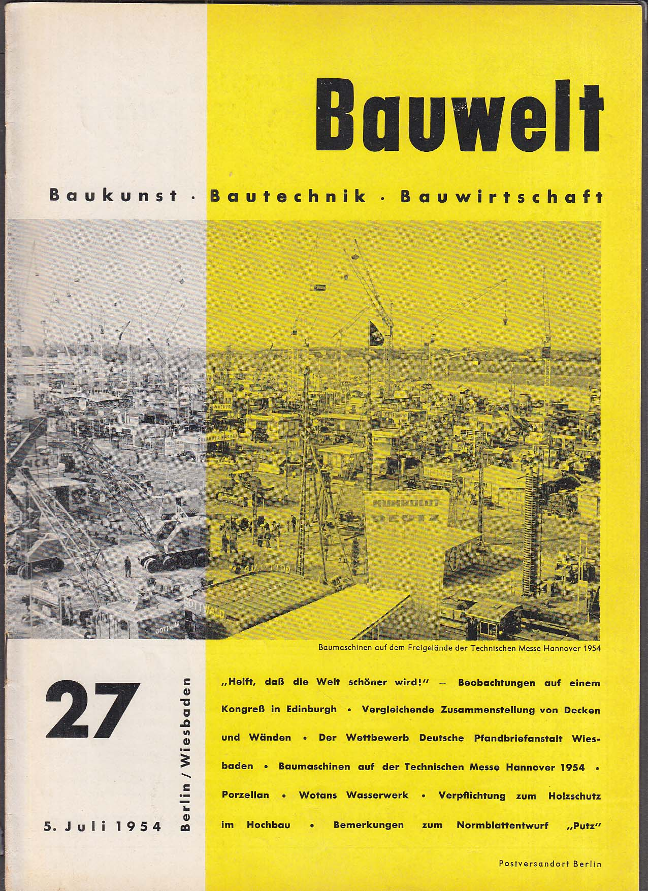 Bauwelt German architecture magazine 7/5/1954 27