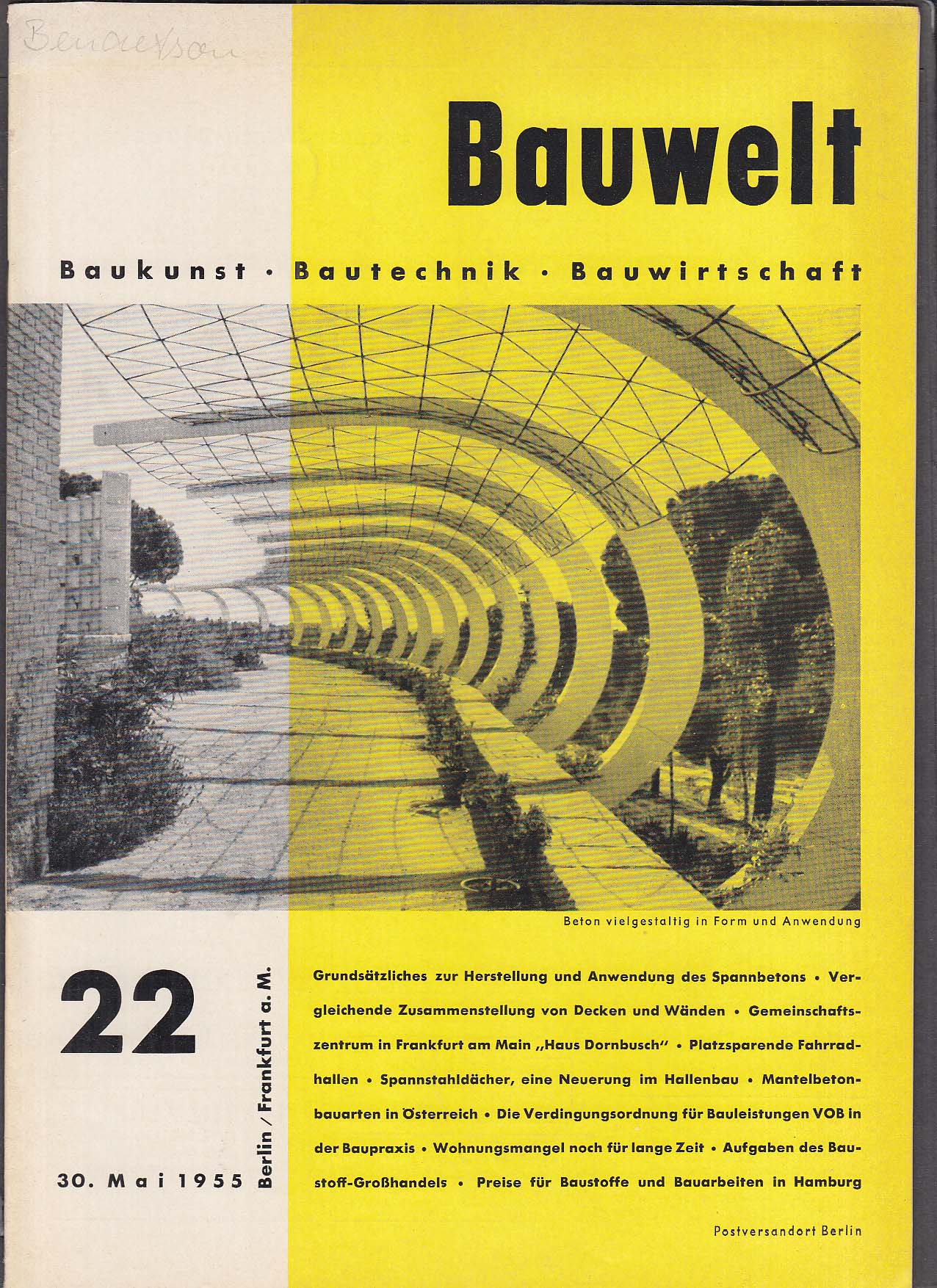 Bauwelt German architecture magazine 5/30/1955 22
