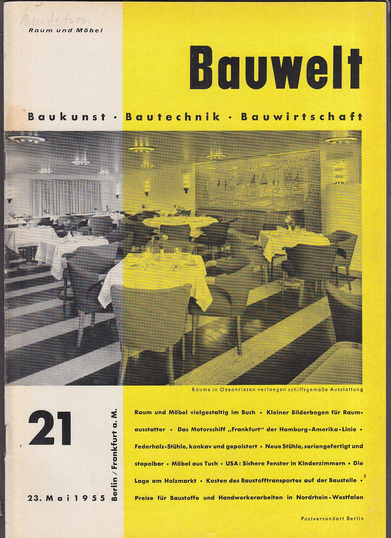 Bauwelt German architecture magazine 5/23/1955 21