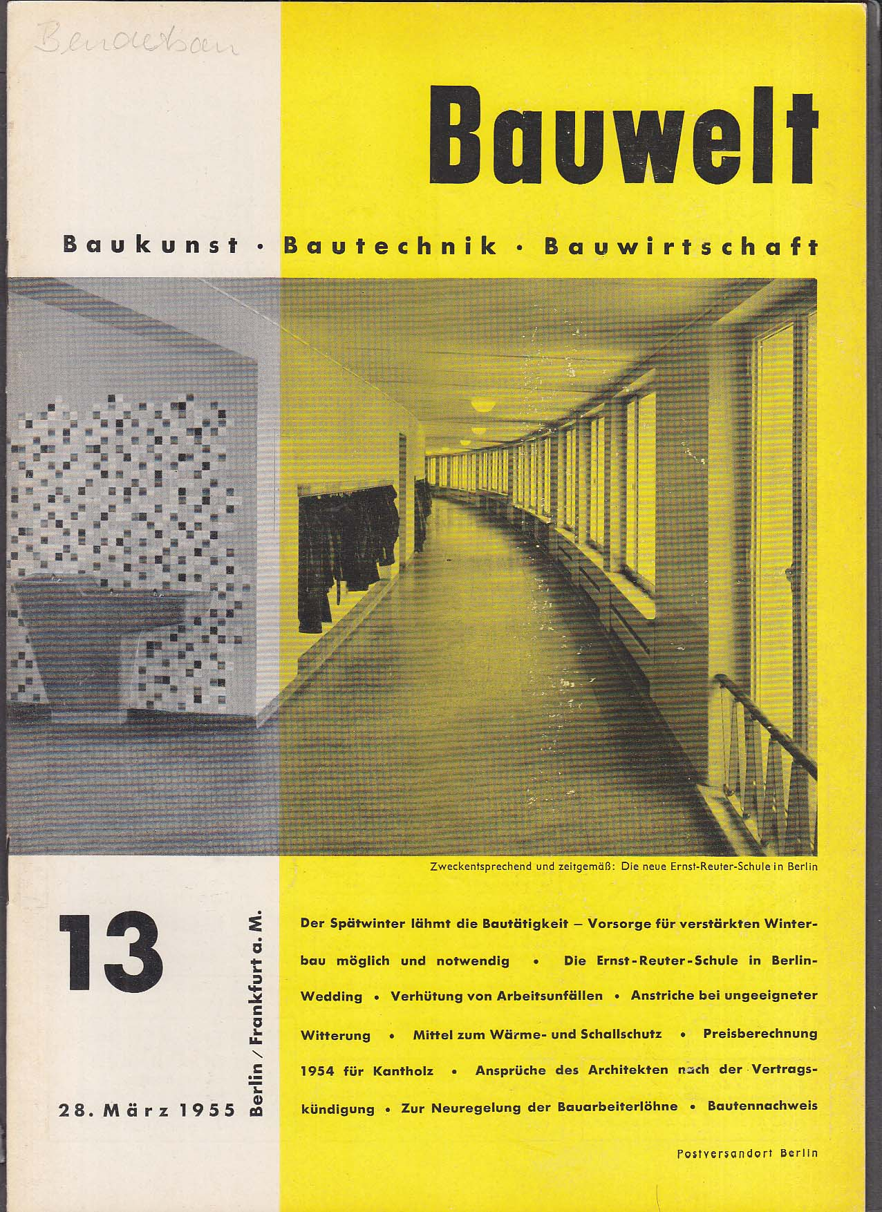 Bauwelt German architecture magazine 3/28/1955 13