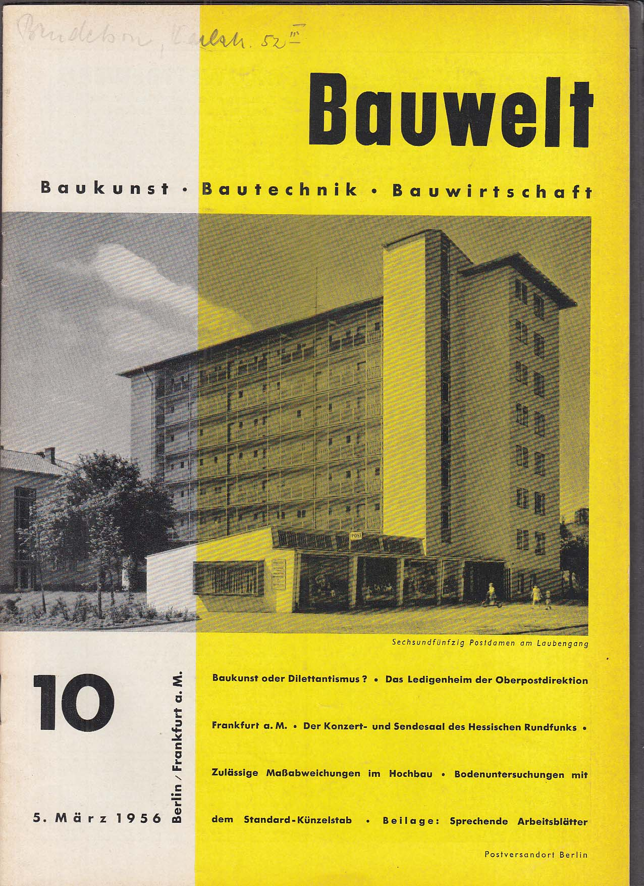 Bauwelt German architecture magazine 3/5/1956 10