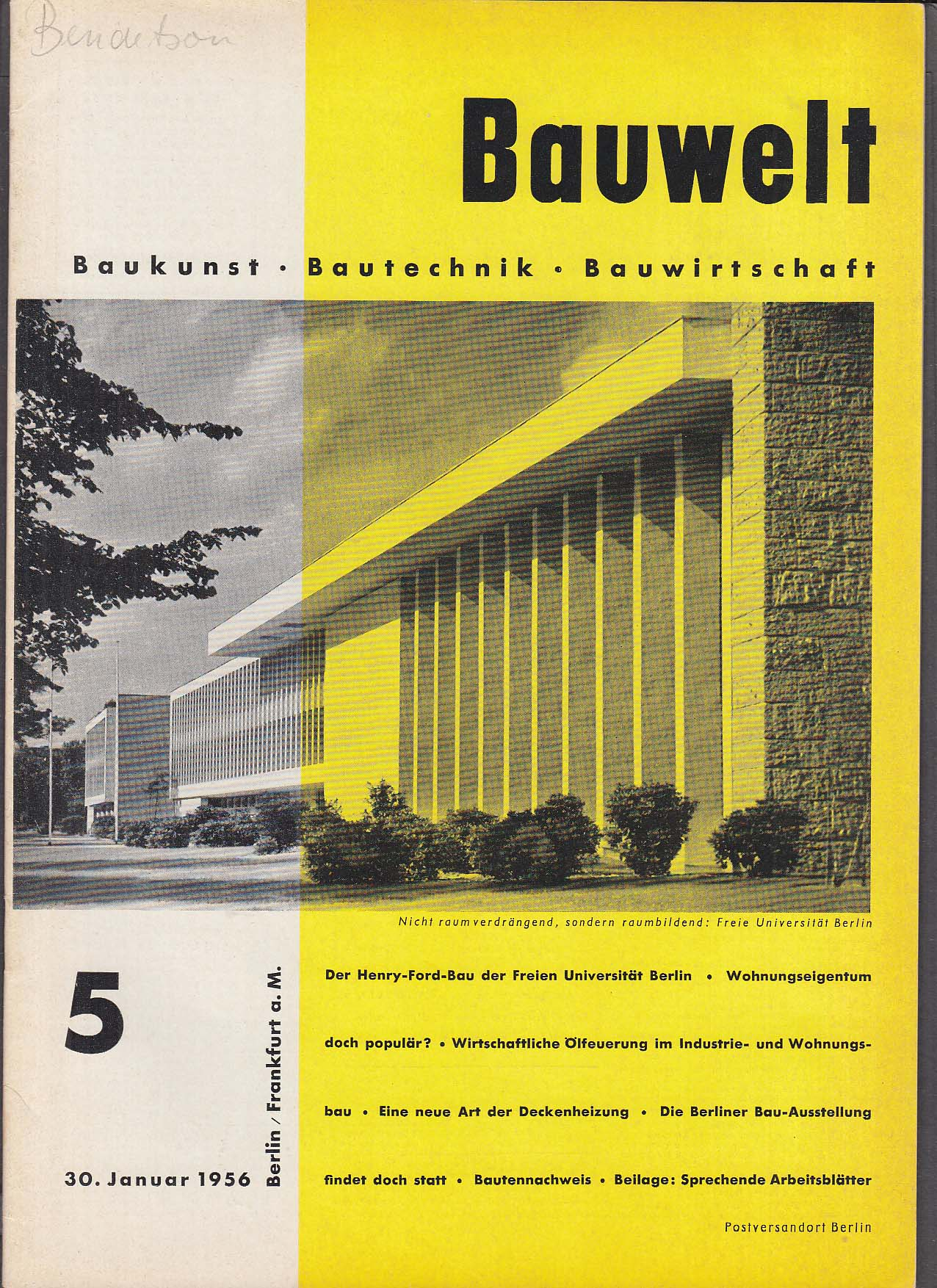Bauwelt German architecture magazine 1/30/1956 5