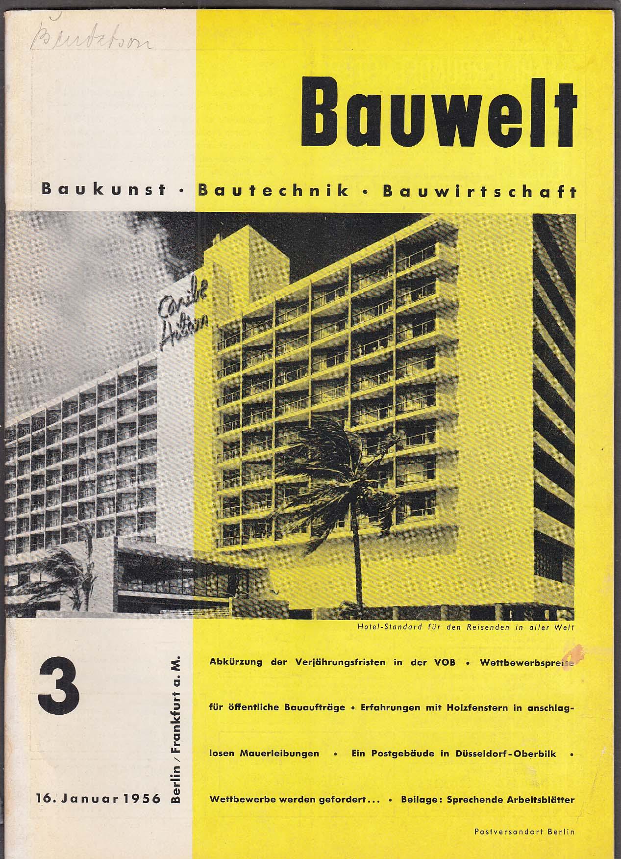 Bauwelt German architecture magazine 1/16/1956 3