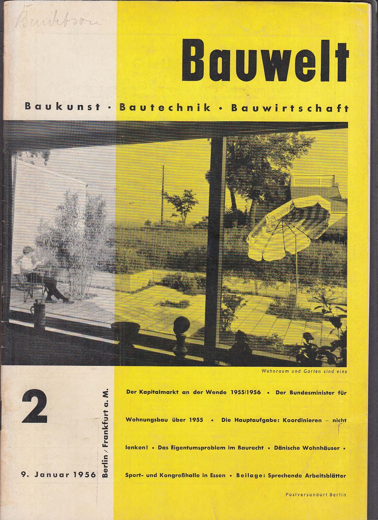 Bauwelt German architecture magazine 1/9/1956 2