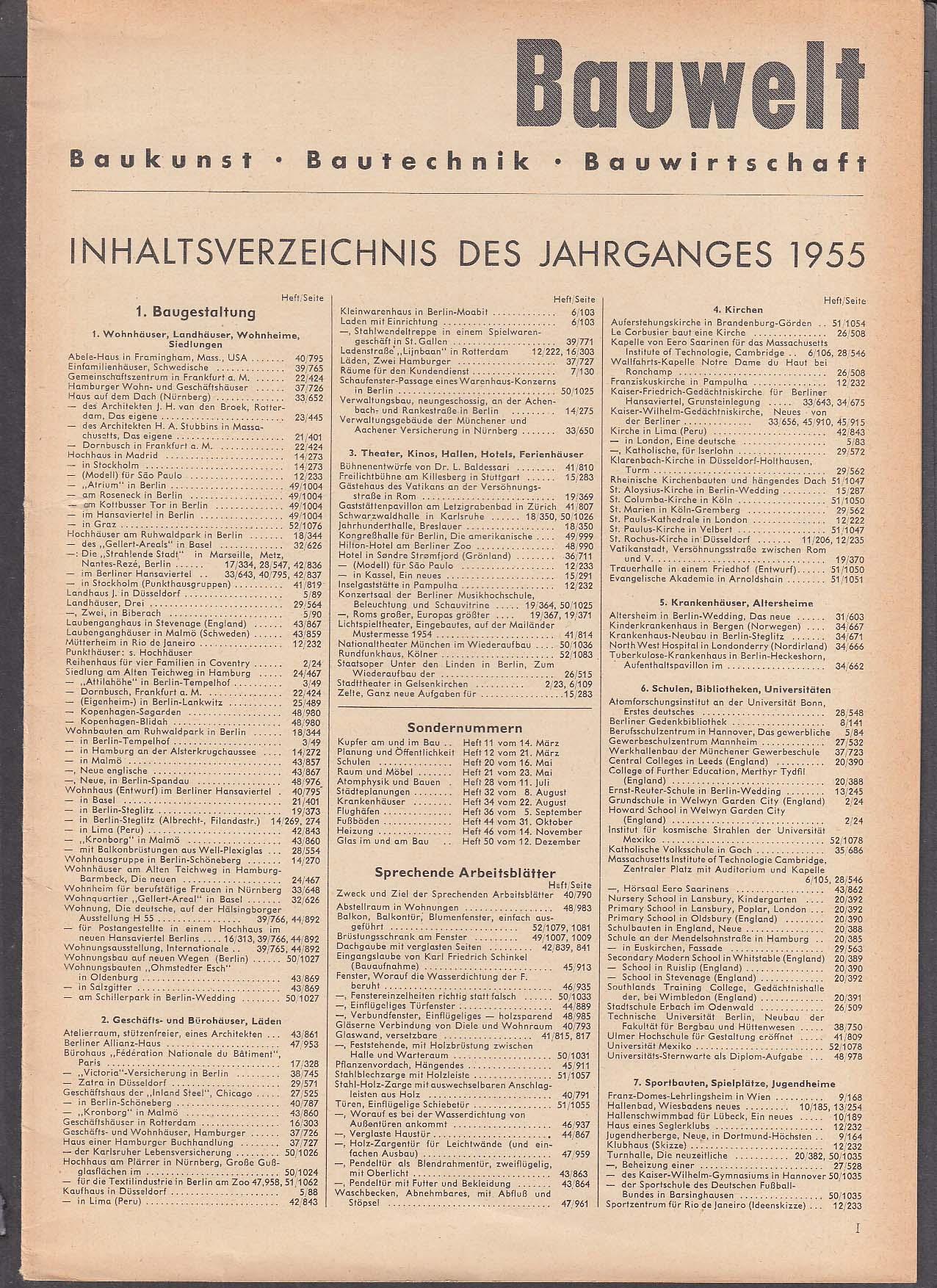 Bauwelt German architecture magazine 1955 index