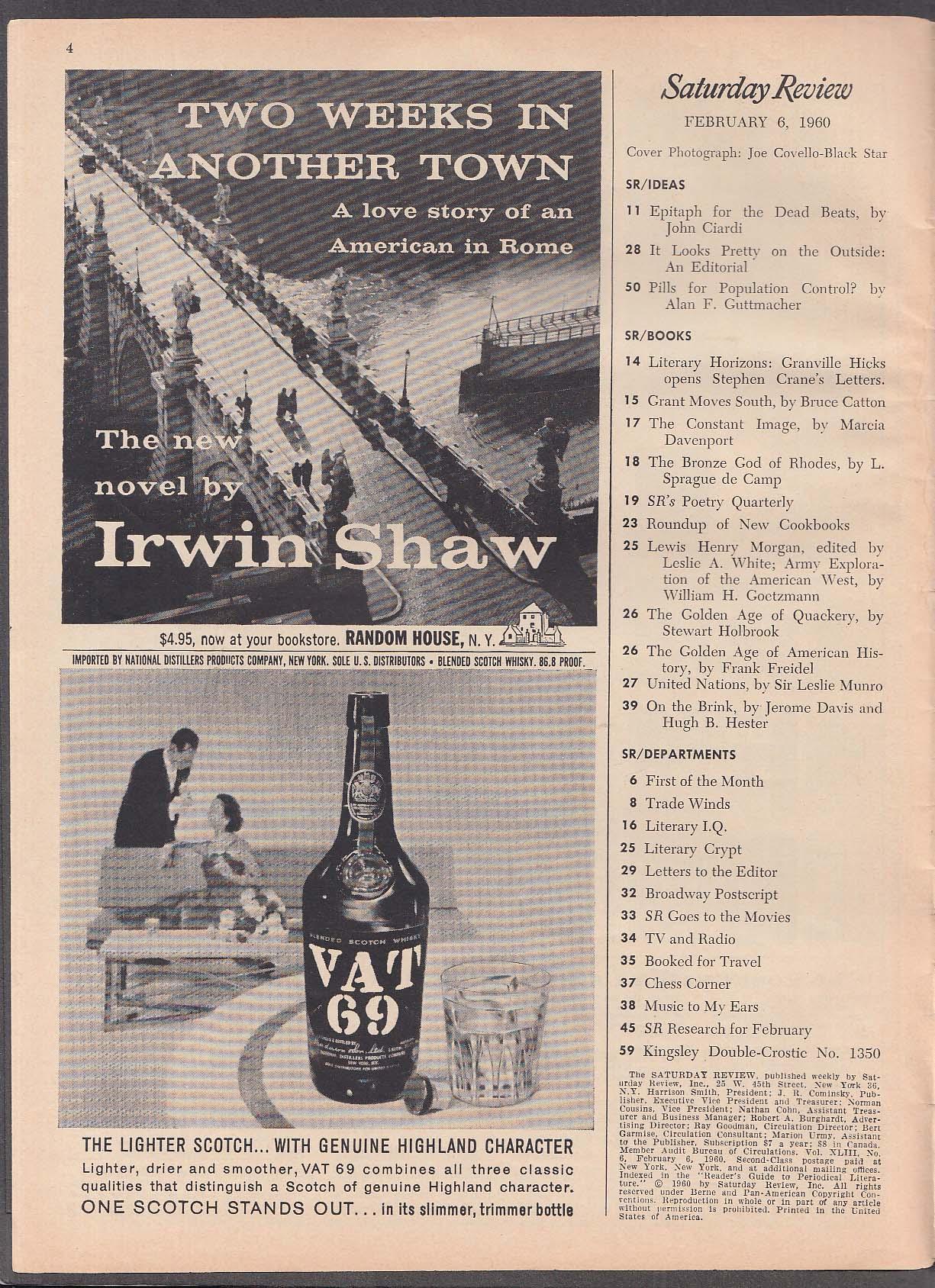 SATURDAY REVIEW John Ciardi, Bruce Catton 2/6 1960