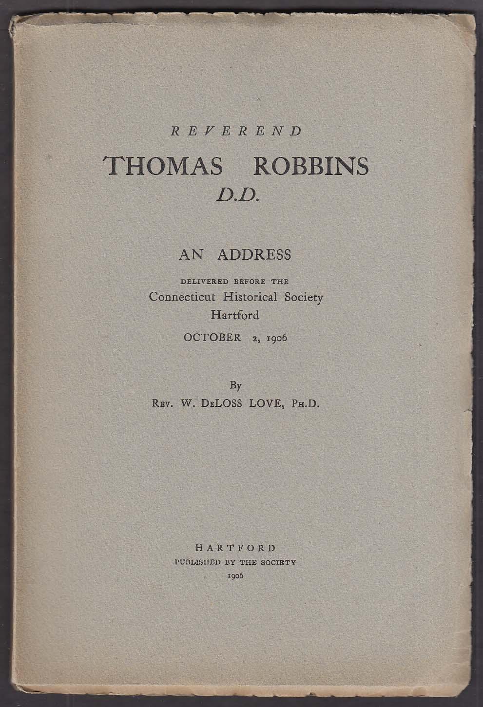 Address on Rev Thomas Dobbins @ Hartford CT 10/2/1906
