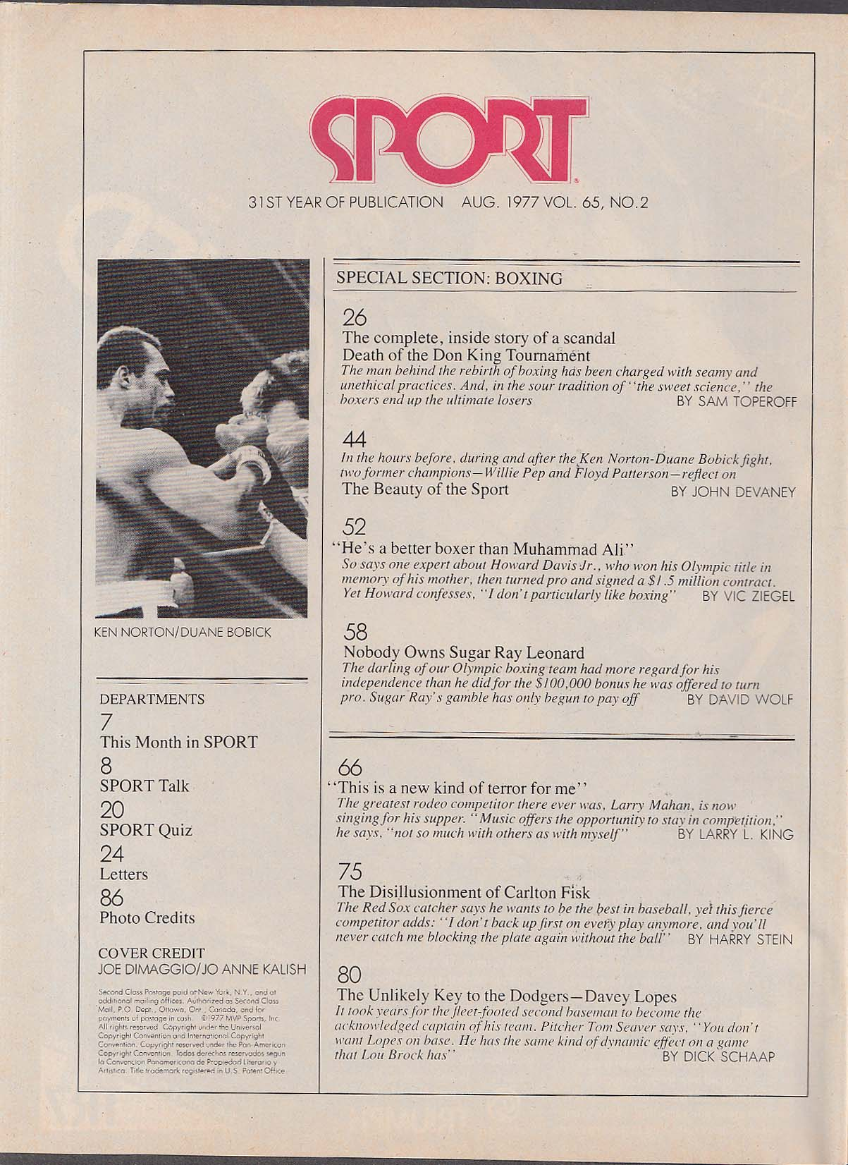 SPORT Don King scandal, Davey Lopes 8 1977