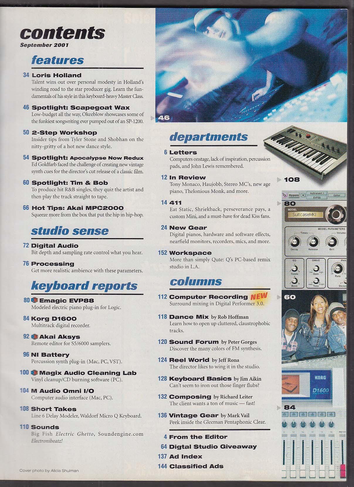 KEYBOARD Loris Holland, Emagic EVP88 9 2001