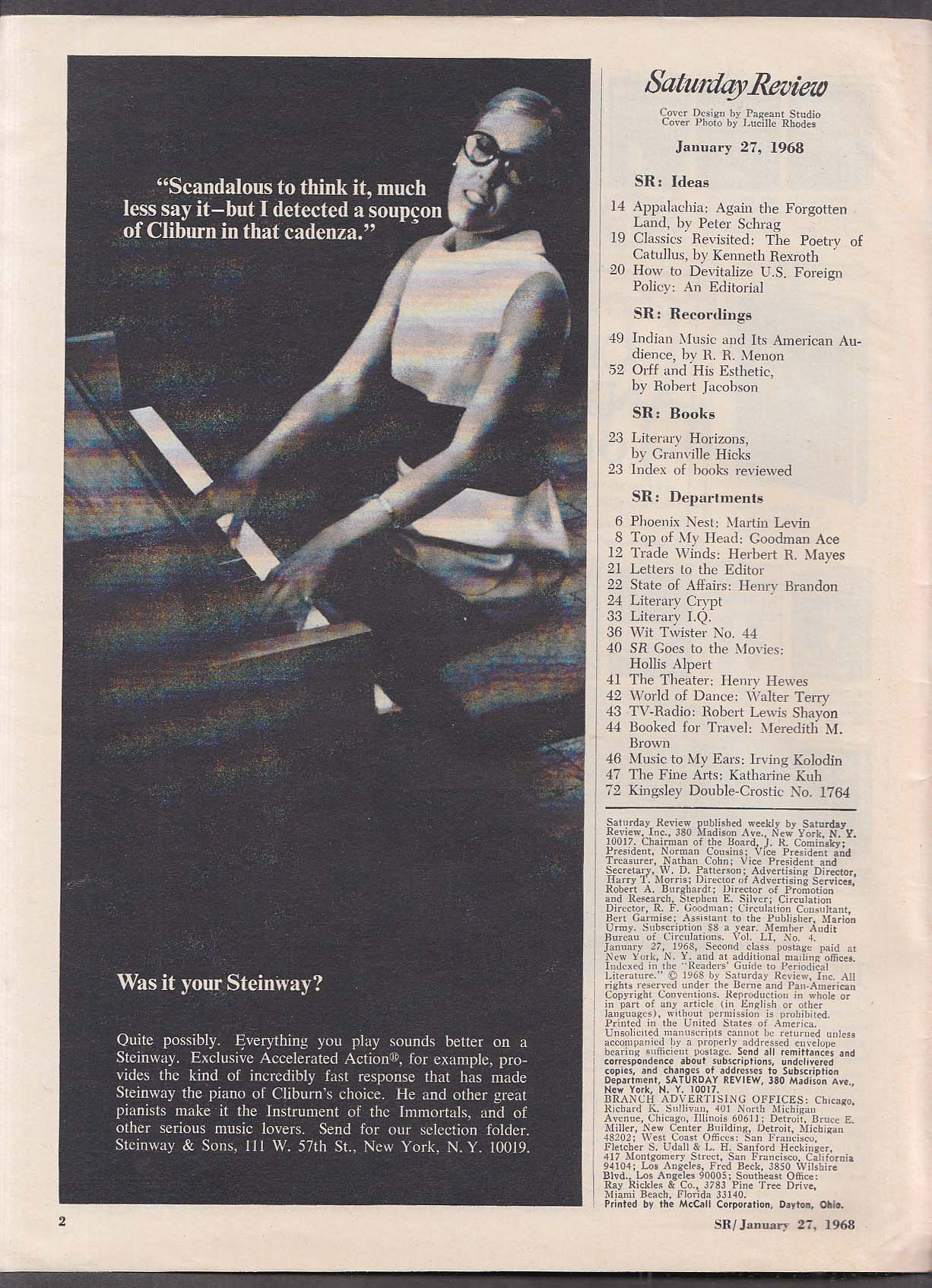SATURDAY REVIEW Appalachia, Indian music 1/27 1968