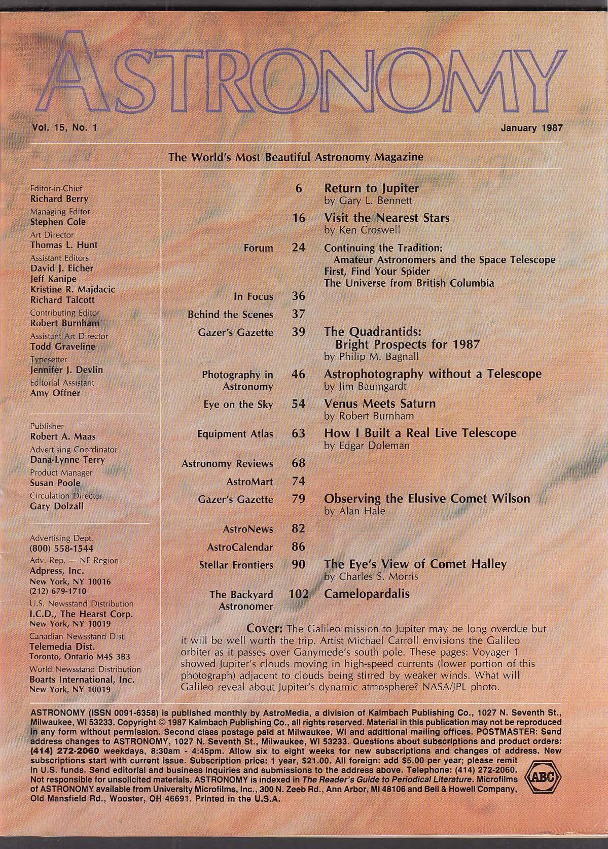 ASTRONOMY Comet Wilson Halley Jupiter Galileo Quadrantids Camelopardalis 1 1987